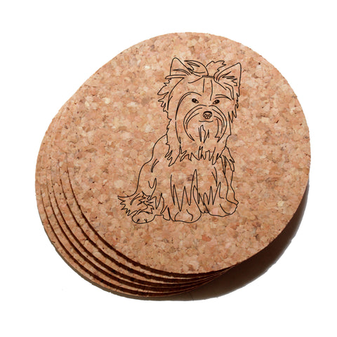 4 inch Yorkshire Terrier Cork Coaster Set of 6
