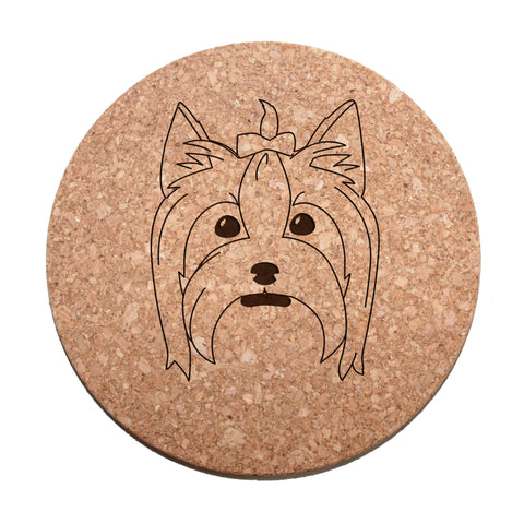 Yorkshire Terrier Face Cork Trivet