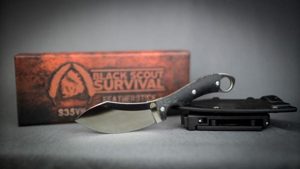 Black Scout Survival Feather Stick in S35VN steel