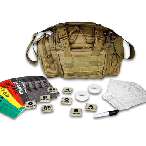 Combat Medic Bag, TCCC kit, blood type patch set, med tape, triage bands 1