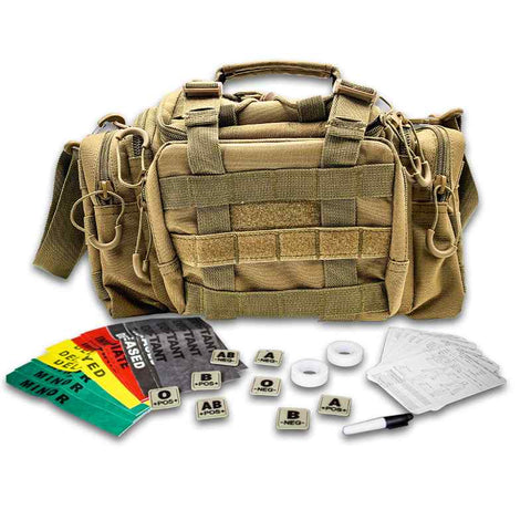 Combat Medic Bag, TCCC kit, blood type patch set, med tape, triage bands 3
