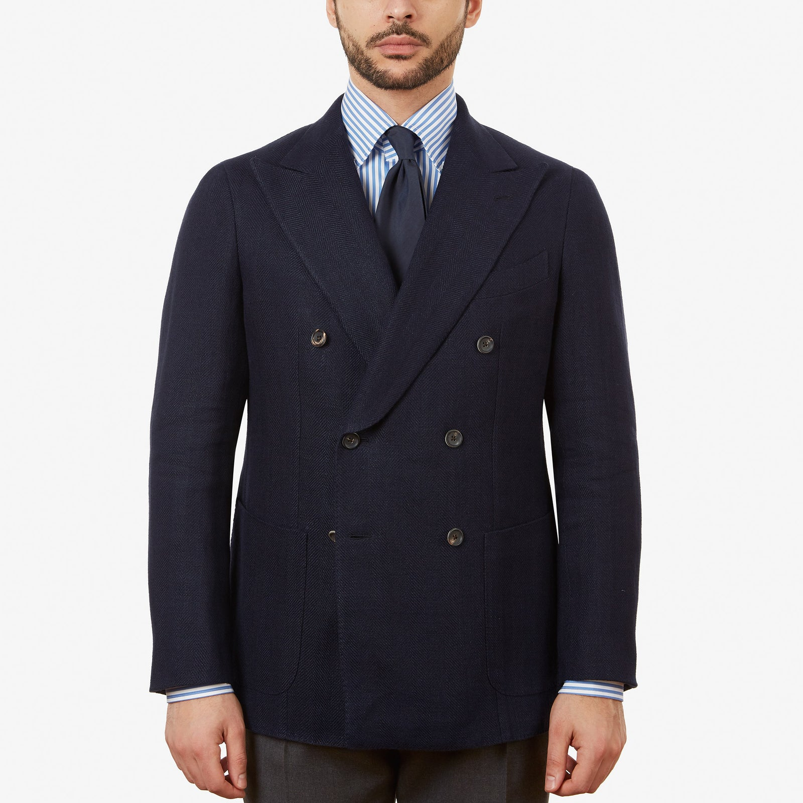 Sport Jacket Linen Double Breasted Navy Herringbone