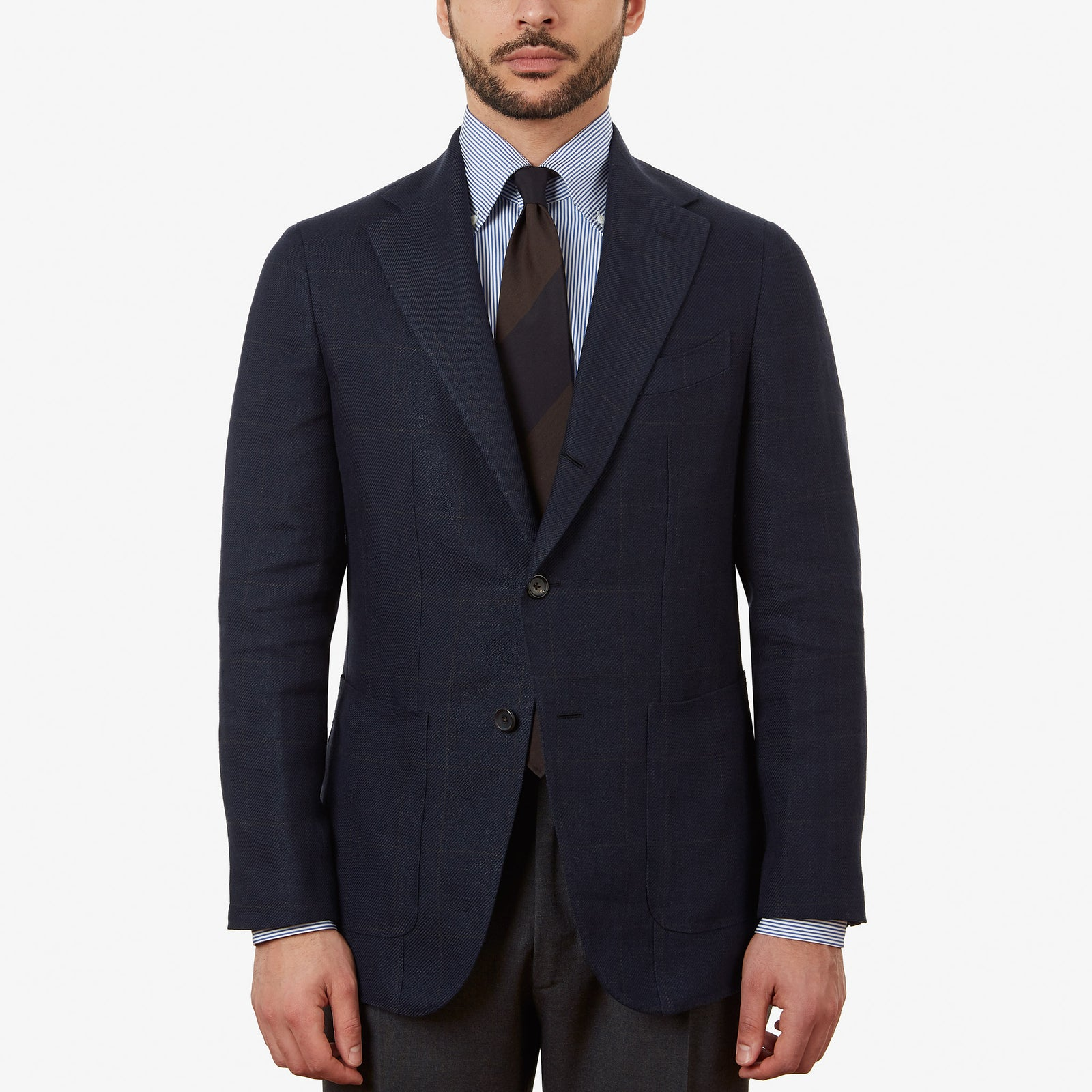 Sport Jacket Linen Navy Brown Overcheck