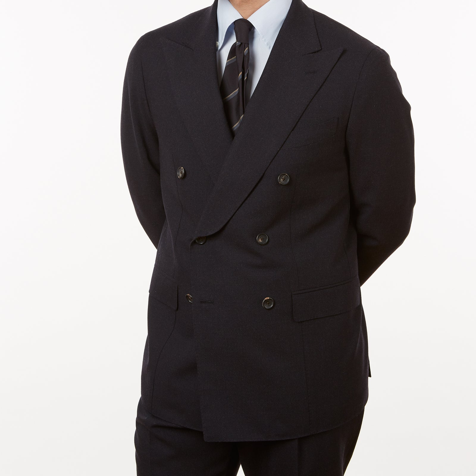 Suit Double Breasted Navy Twisted Wool