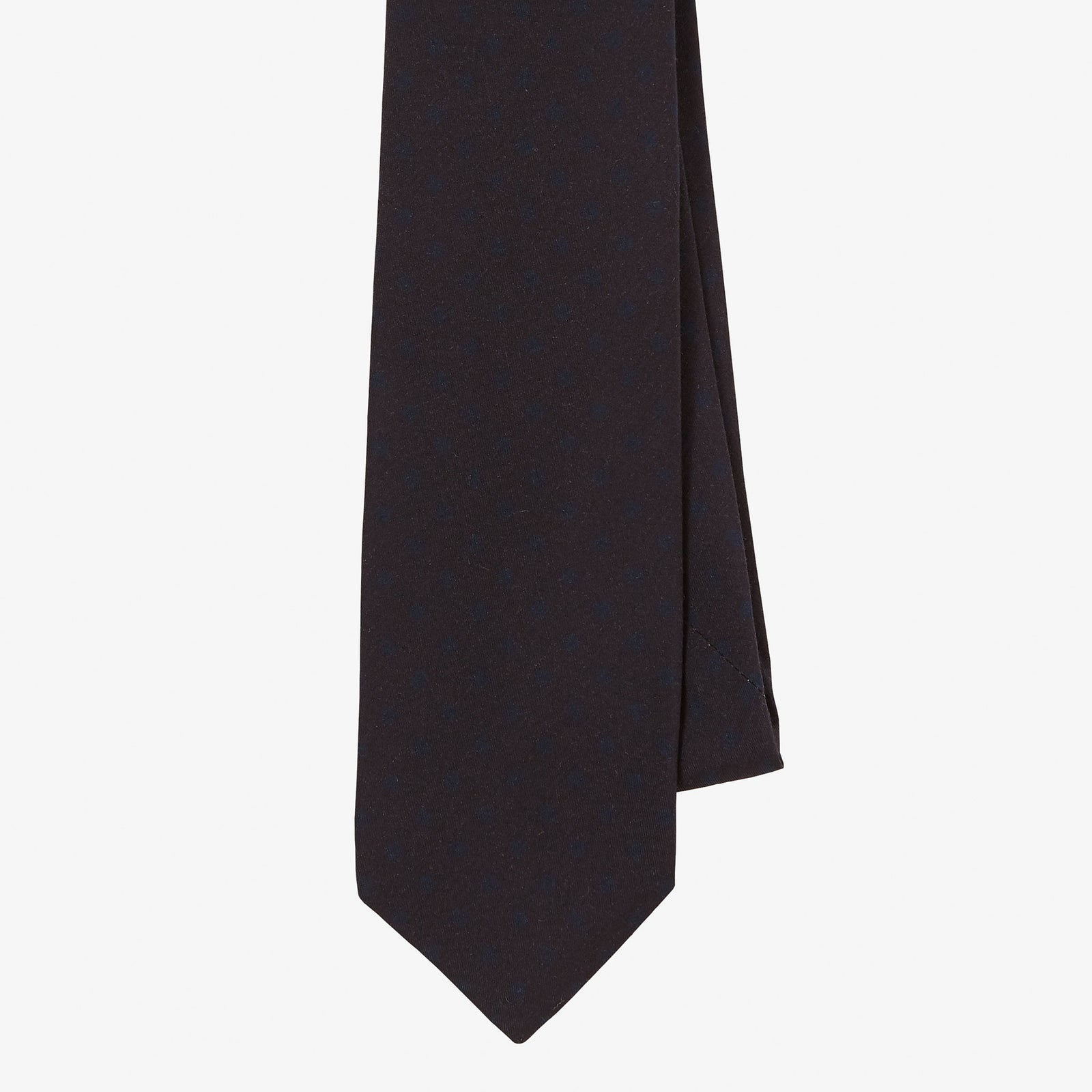 Wool Silk Tie Dark Navy Blue Dot