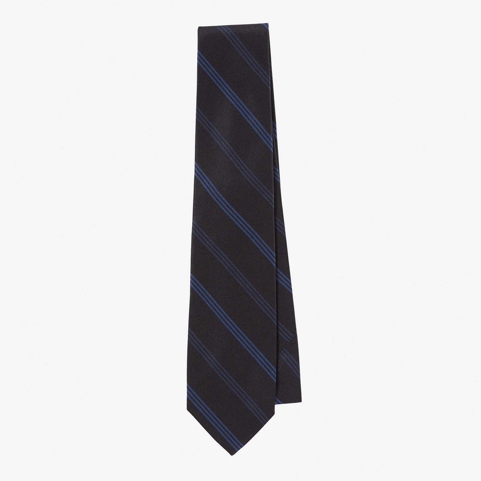 Silk Tie Overdye Navy Cobalt Blue Multi Stripe