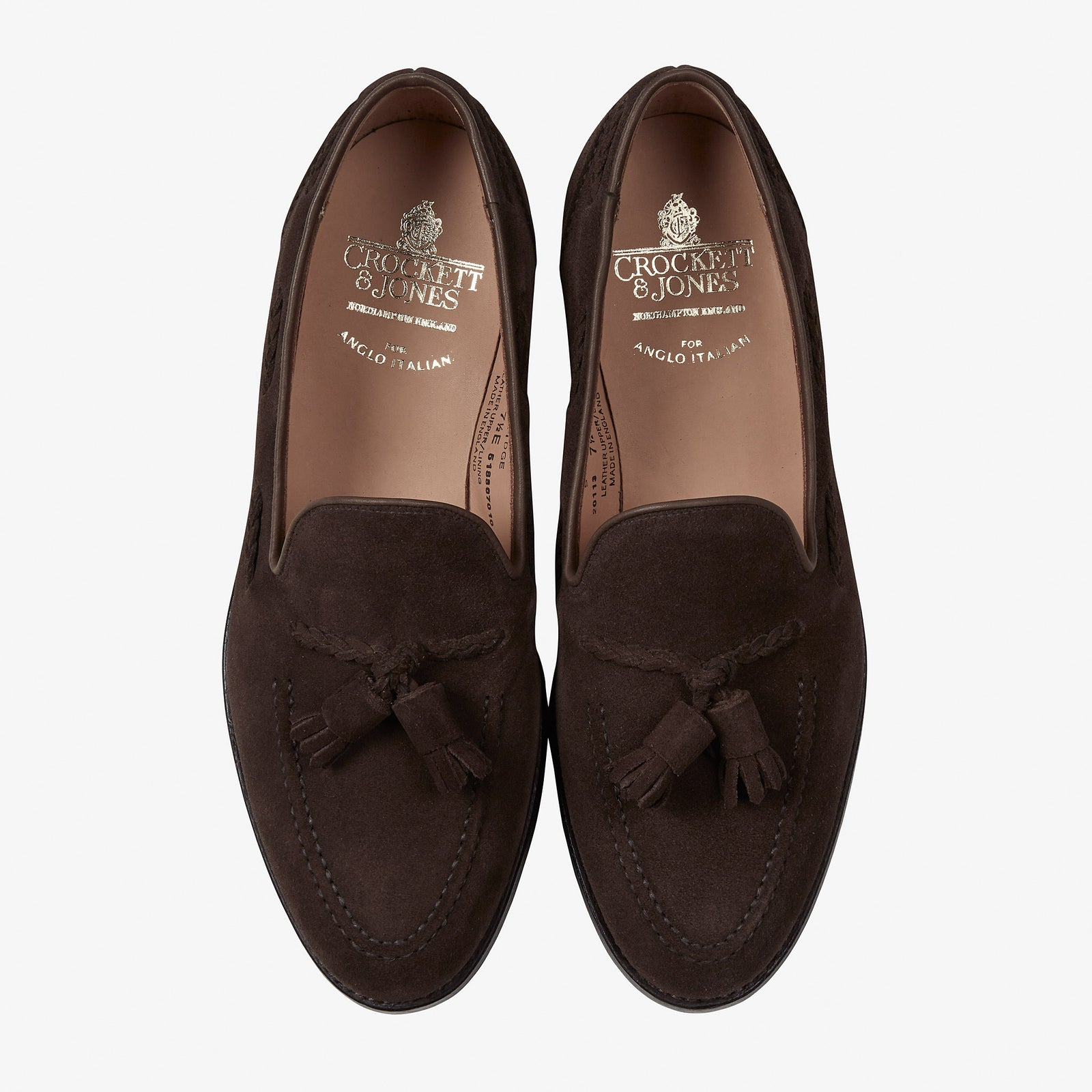 Crockett & Jones for Anglo-Italian Studridge Loafer Dark Brown Suede