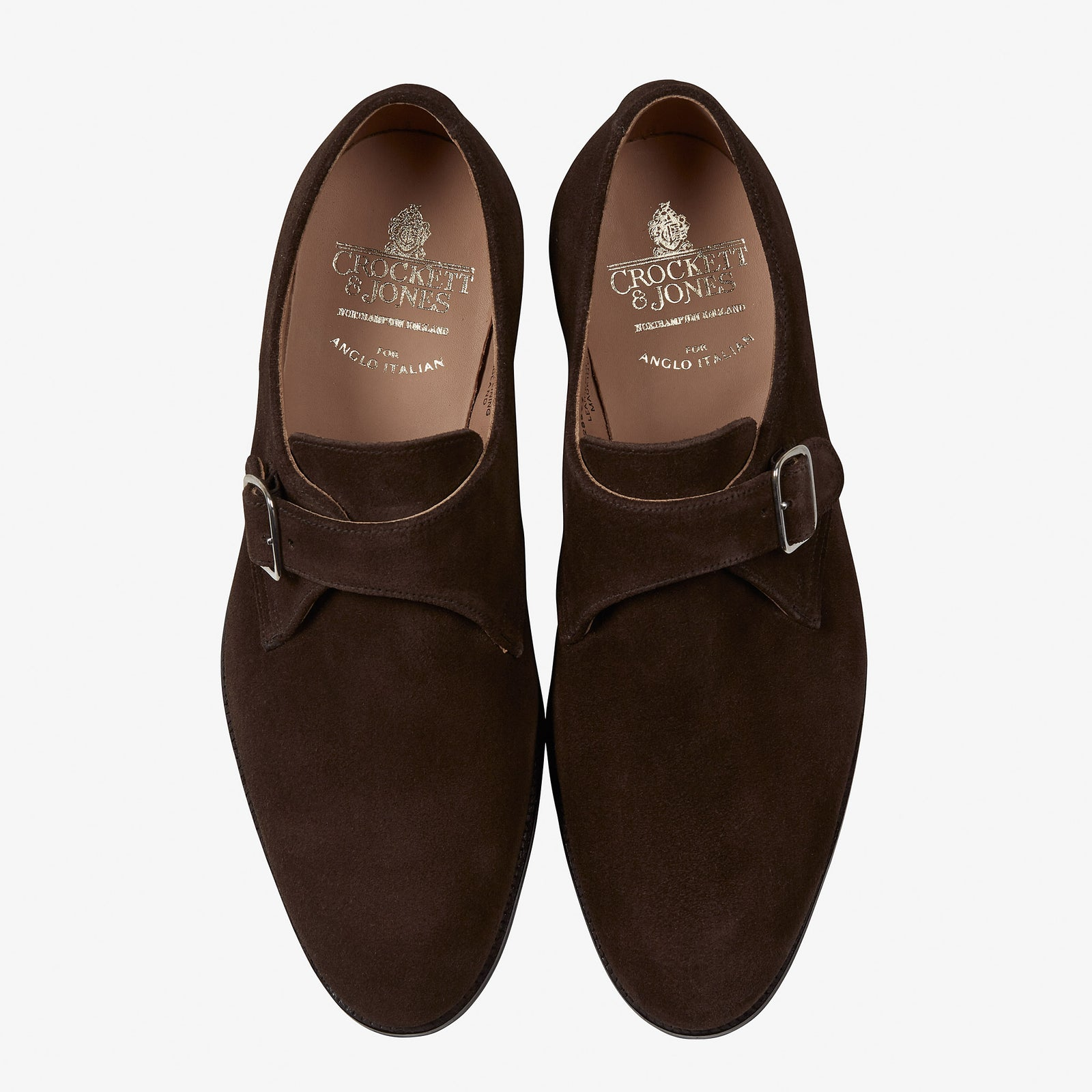 Crockett & Jones for Anglo-Italian Compton Single Monk Dark Brown Suede