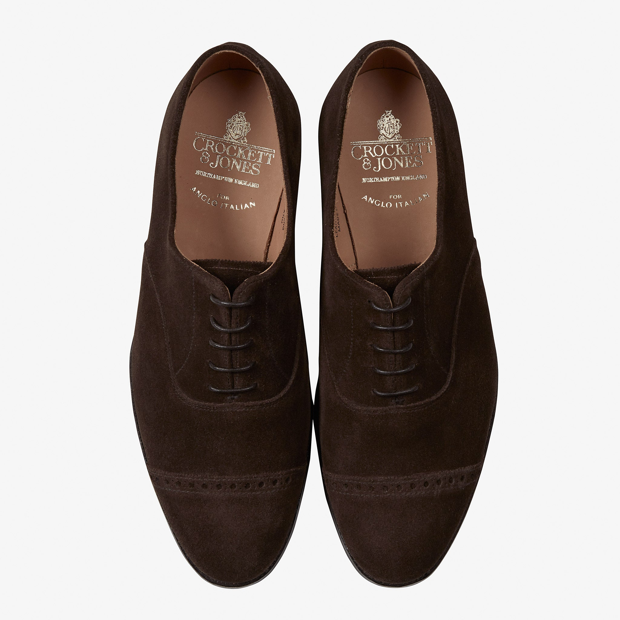 Crockett & Jones for Anglo Italian Burlington Oxford Dark Brown Suede