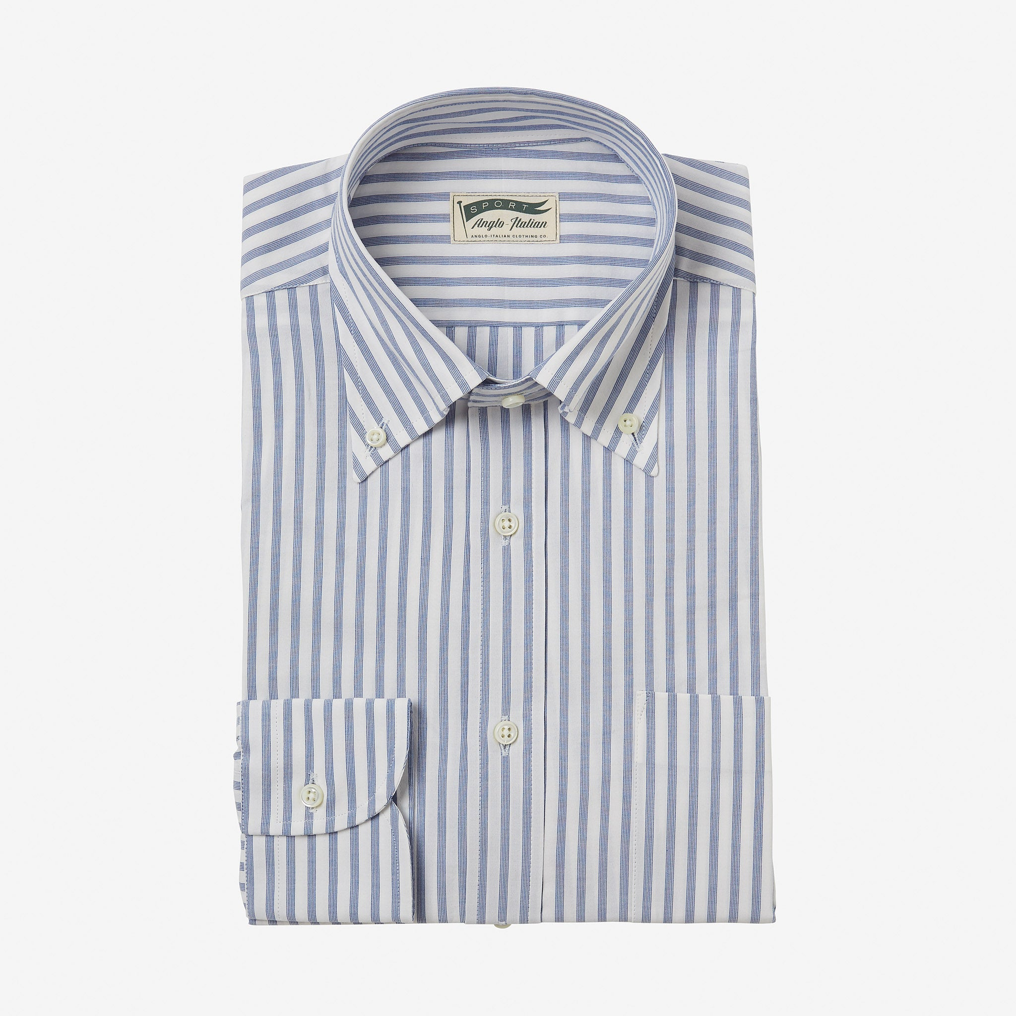 Button Down Treviso Cotton Shirt Multistripe Blue