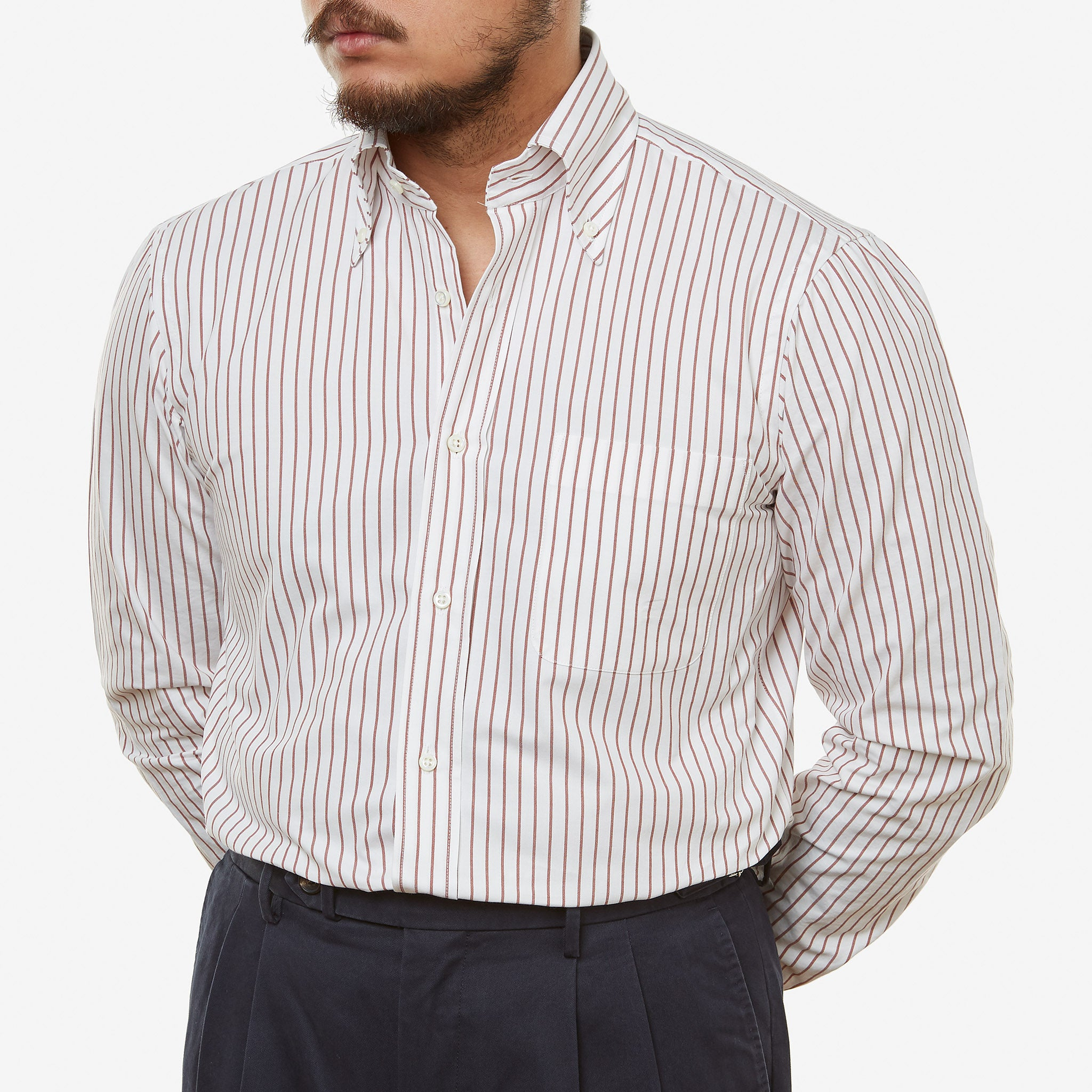 Button Down Treviso Cotton Shirt Wide Stripe Red