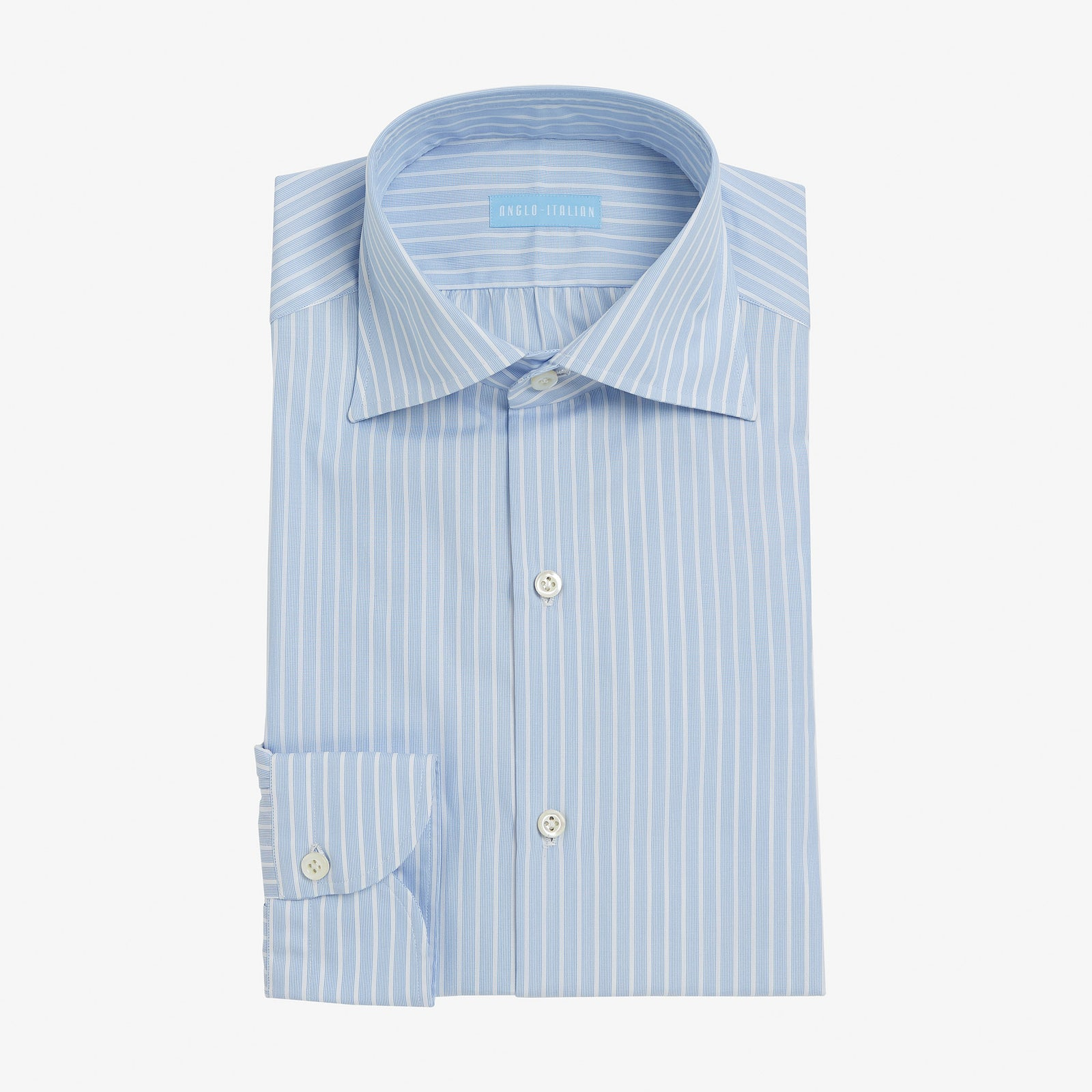 Spread Collar Shirt Cotton Multi Cable Stripe