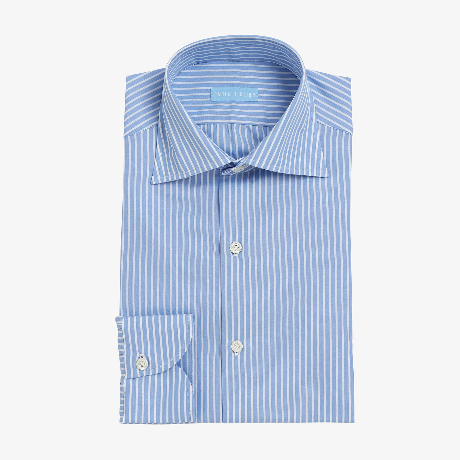 Spread Collar Shirt Cotton Sky Blue Reverse Stripe