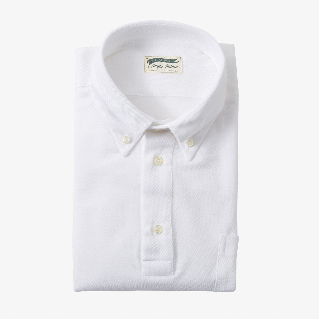 Polo Shirt Long Sleeve White Anglo Italian