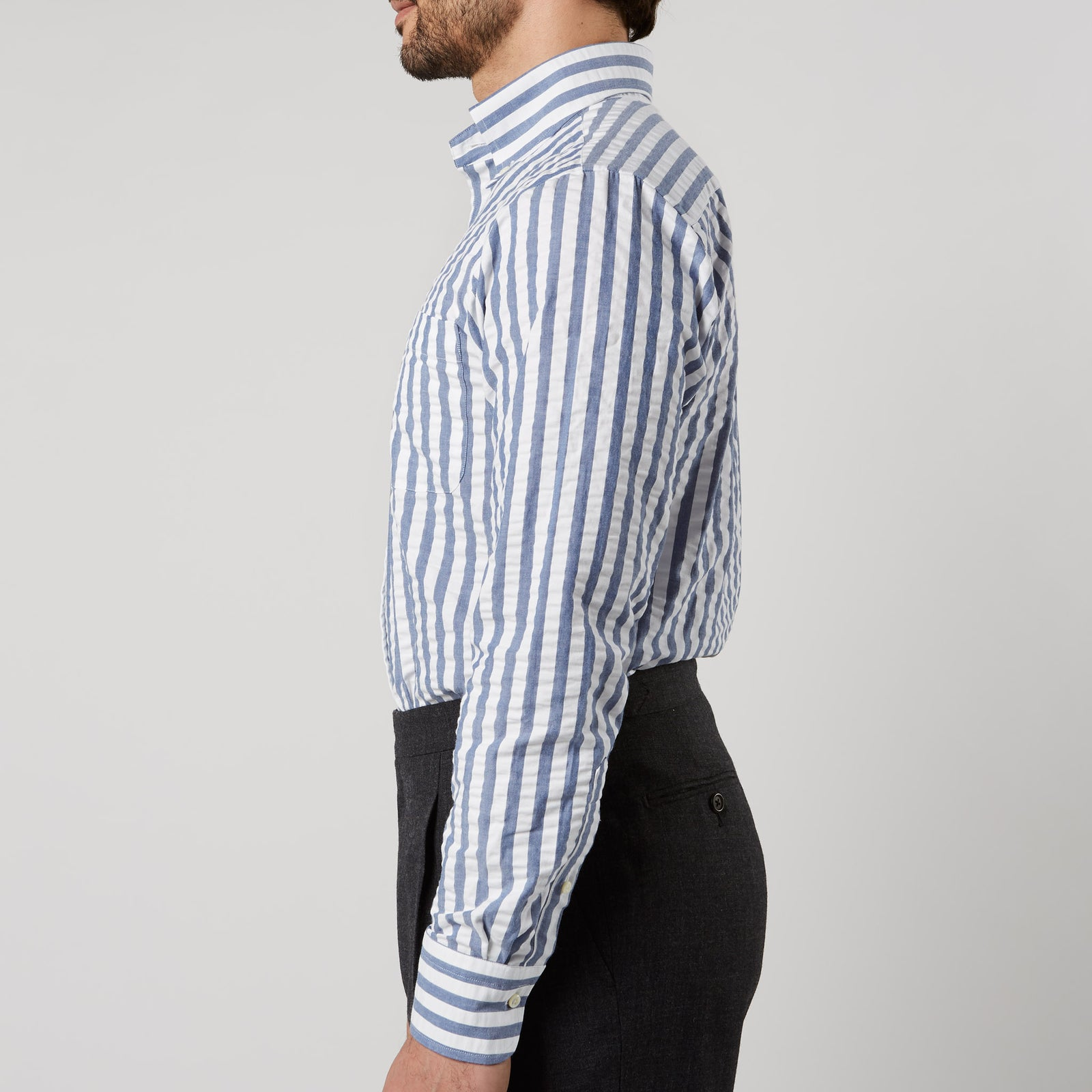 Button Down Sport Shirt Seersucker Stripe Blue