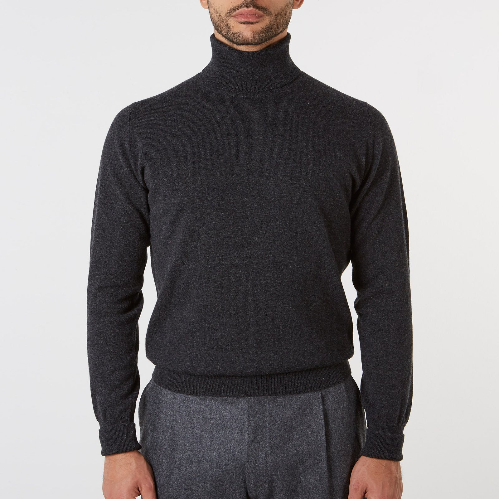 Roll Neck Cashmere Charcoal