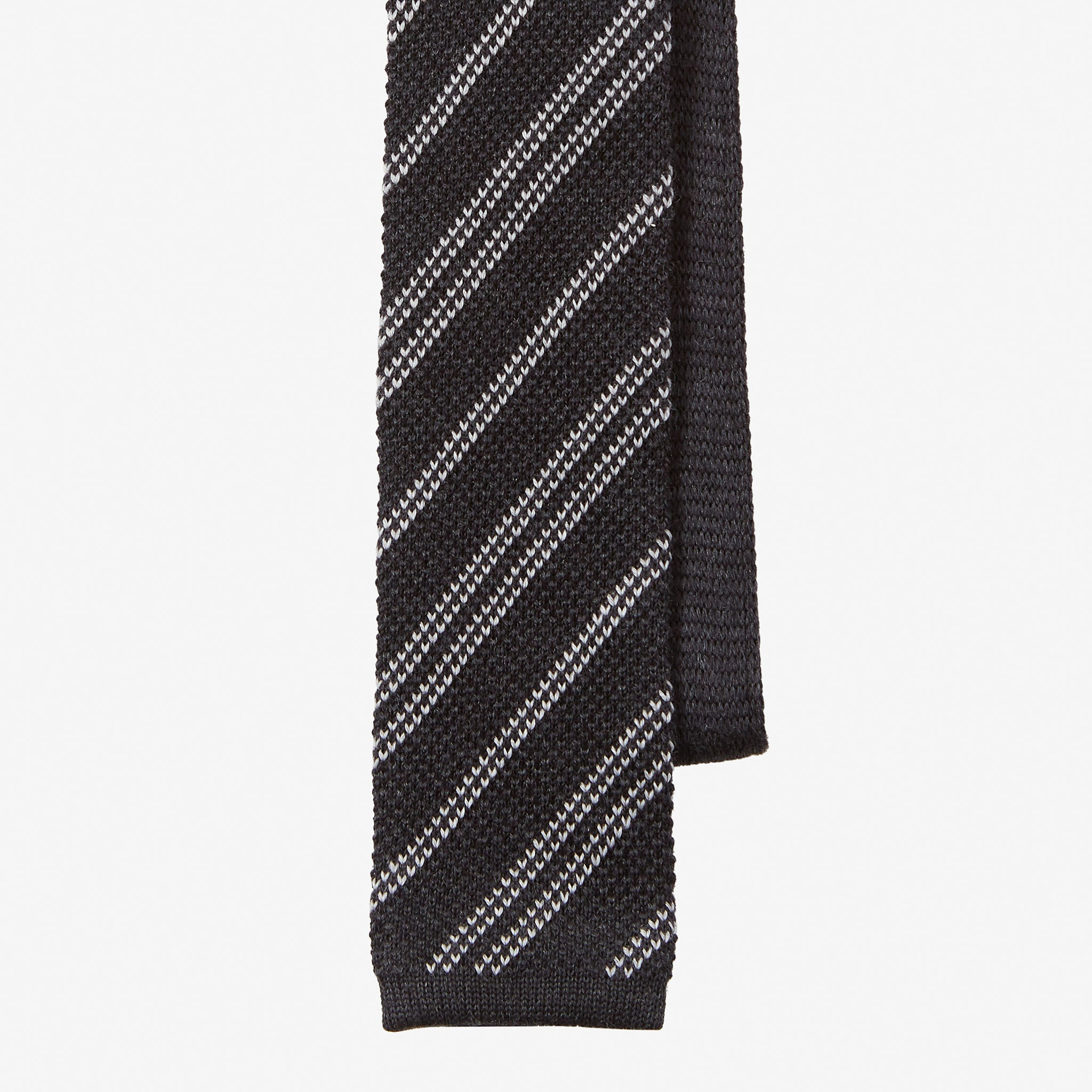 Knit Tie Wool Stripe Navy White