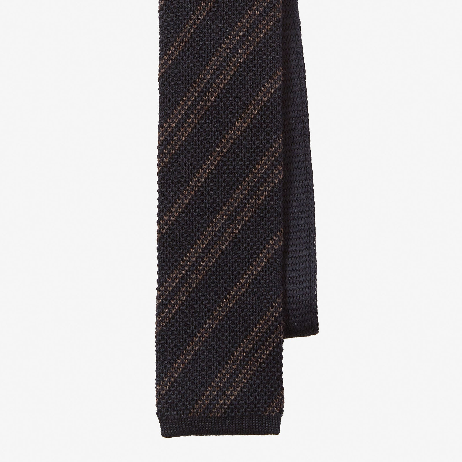 Knit Tie Wool Stripe Navy Brown