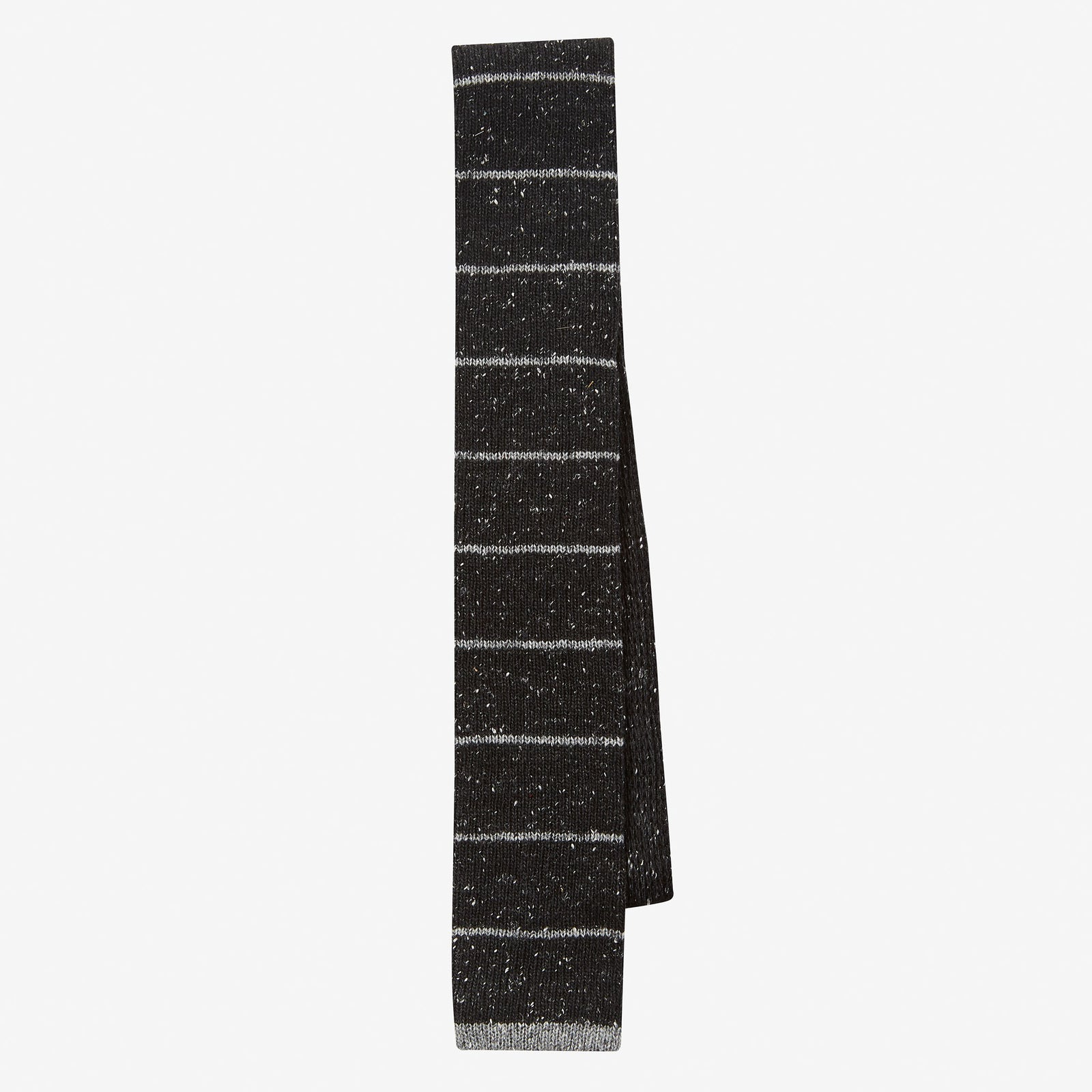 Knit Tie Wool Donegal Horizontal Stripe Charcoal Grey