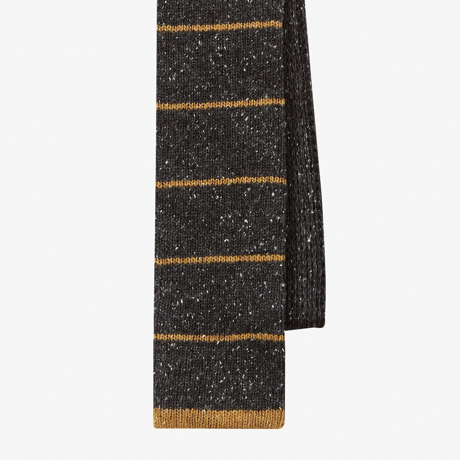 Knit Tie Wool Donegal Horizontal Stripe Charcoal Ochre