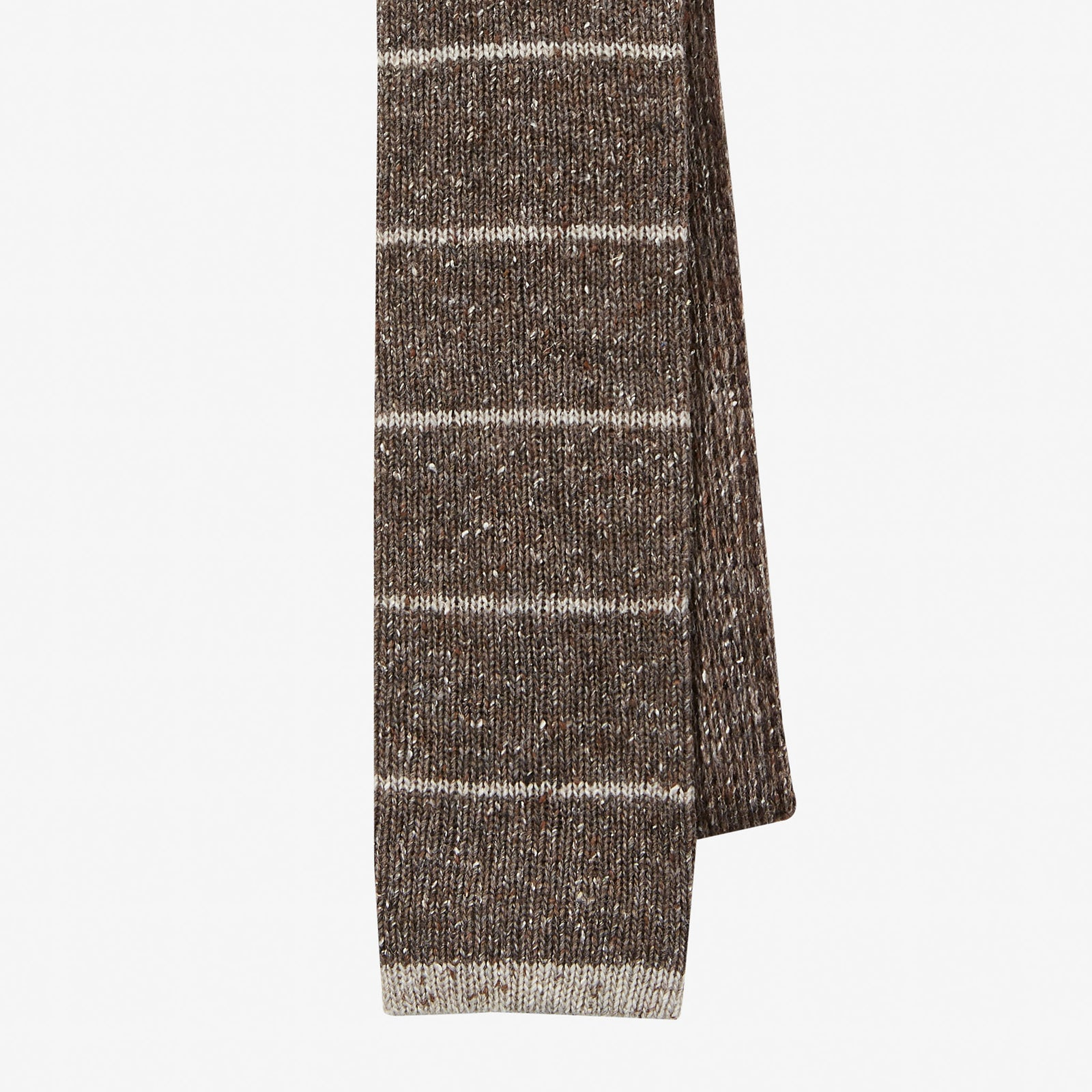 Knit Tie Wool Donegal Horizontal Stripe Brown Oatmeal