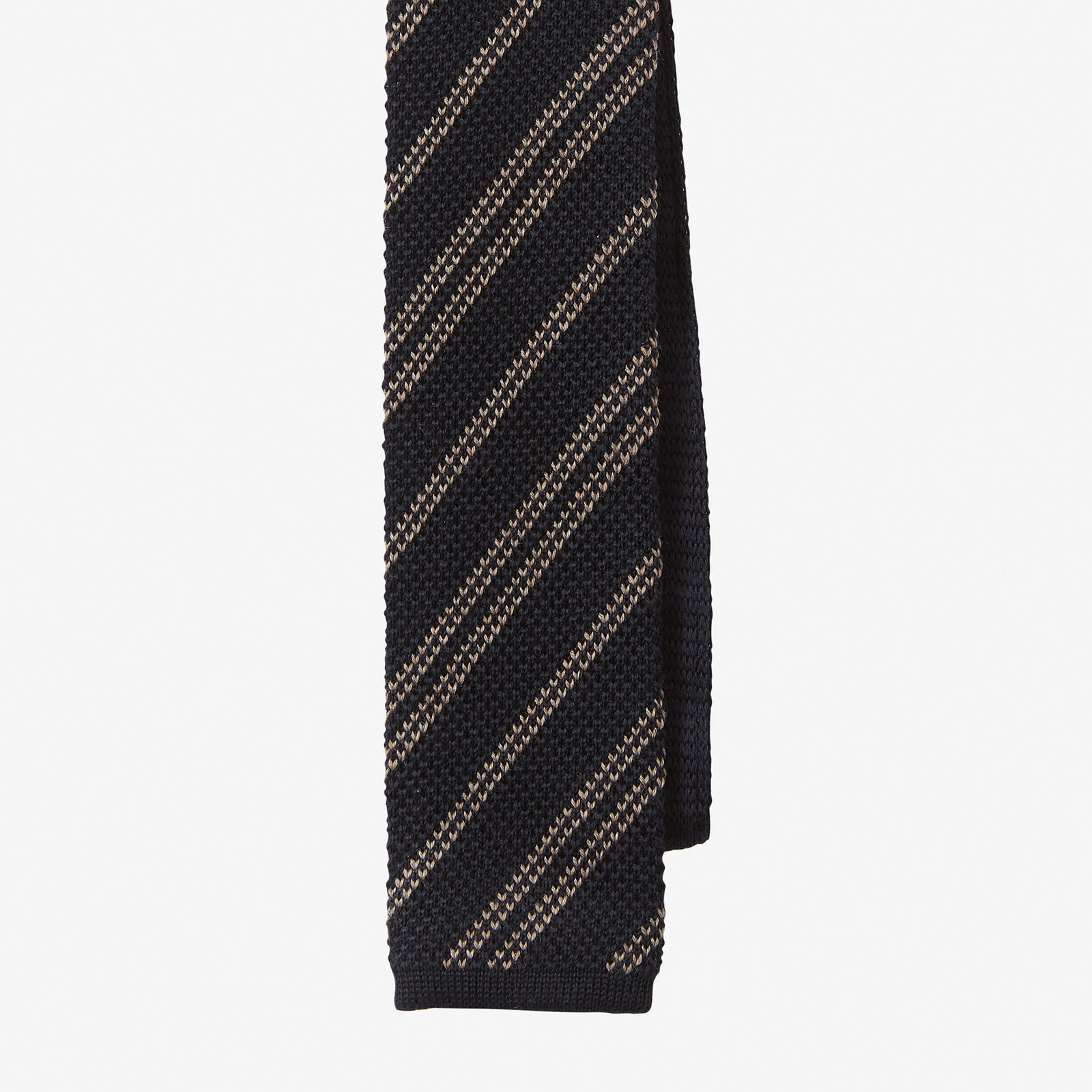 Knit Tie Wool Stripe Navy Taupe