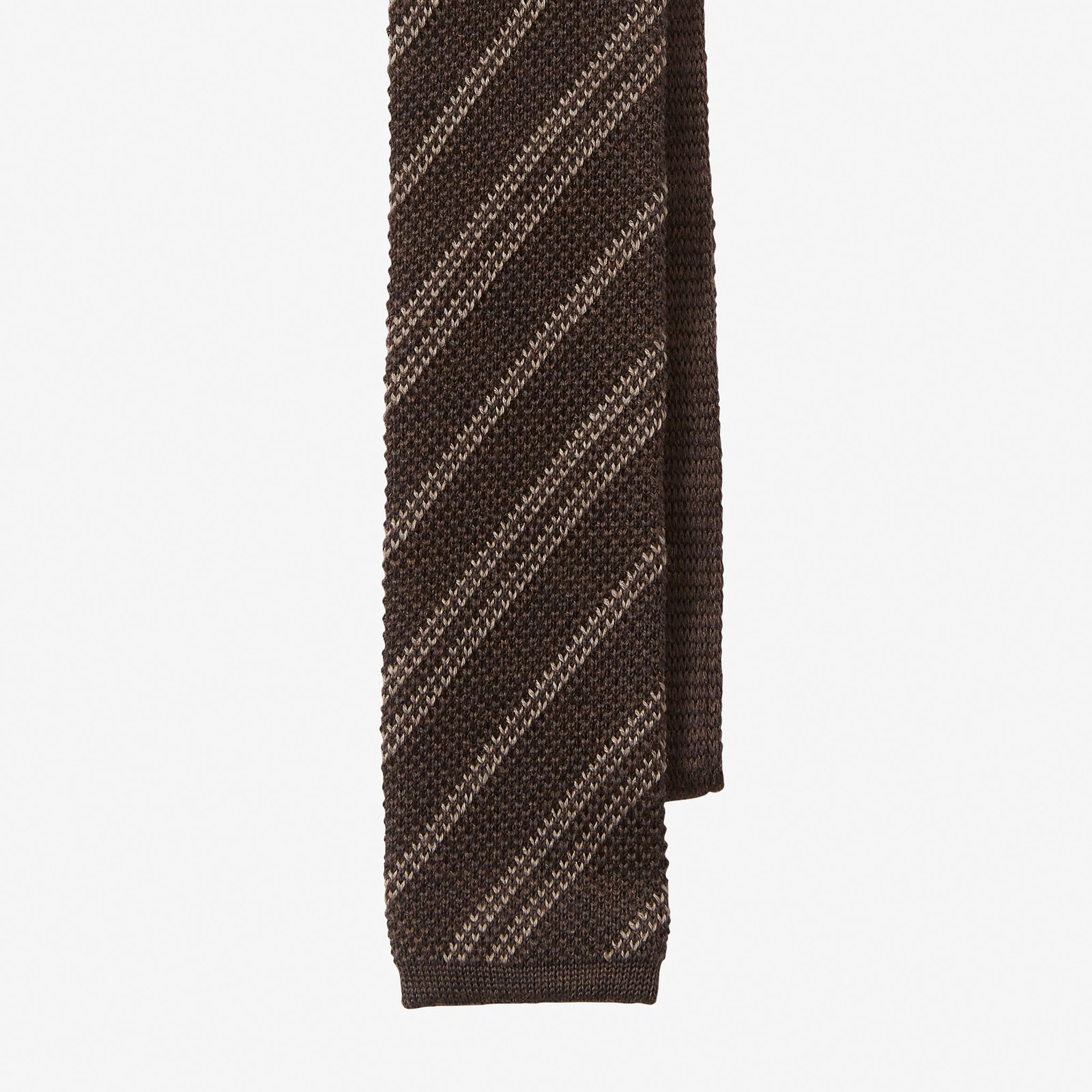 Knit Tie Wool Stripe Brown Taupe