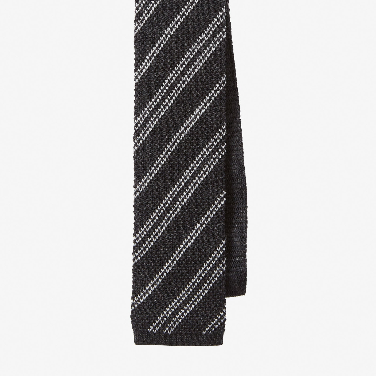 Knit Tie Wool Stripe Charcoal Grey