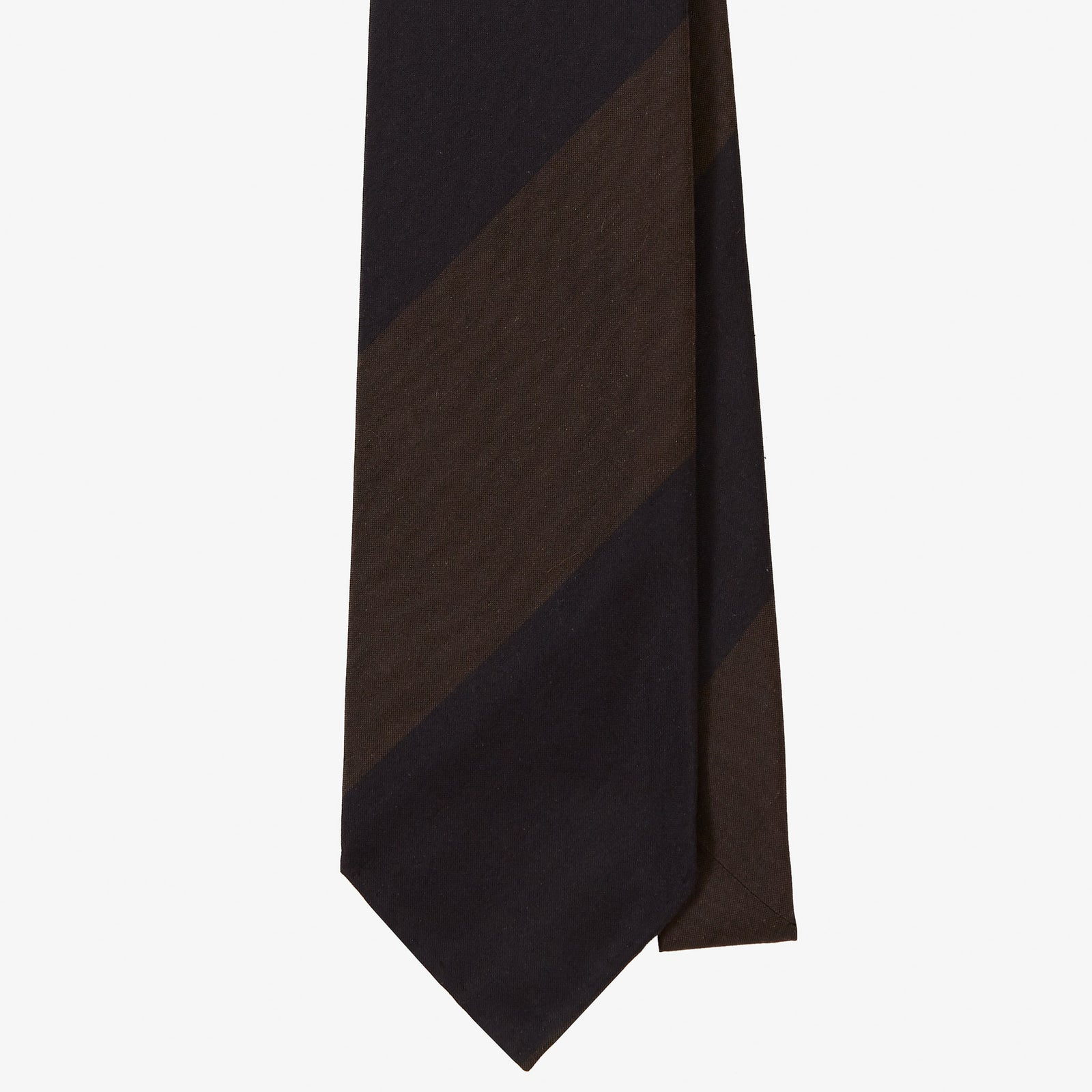 Dry Silk Tie Brown Navy Block Stripe