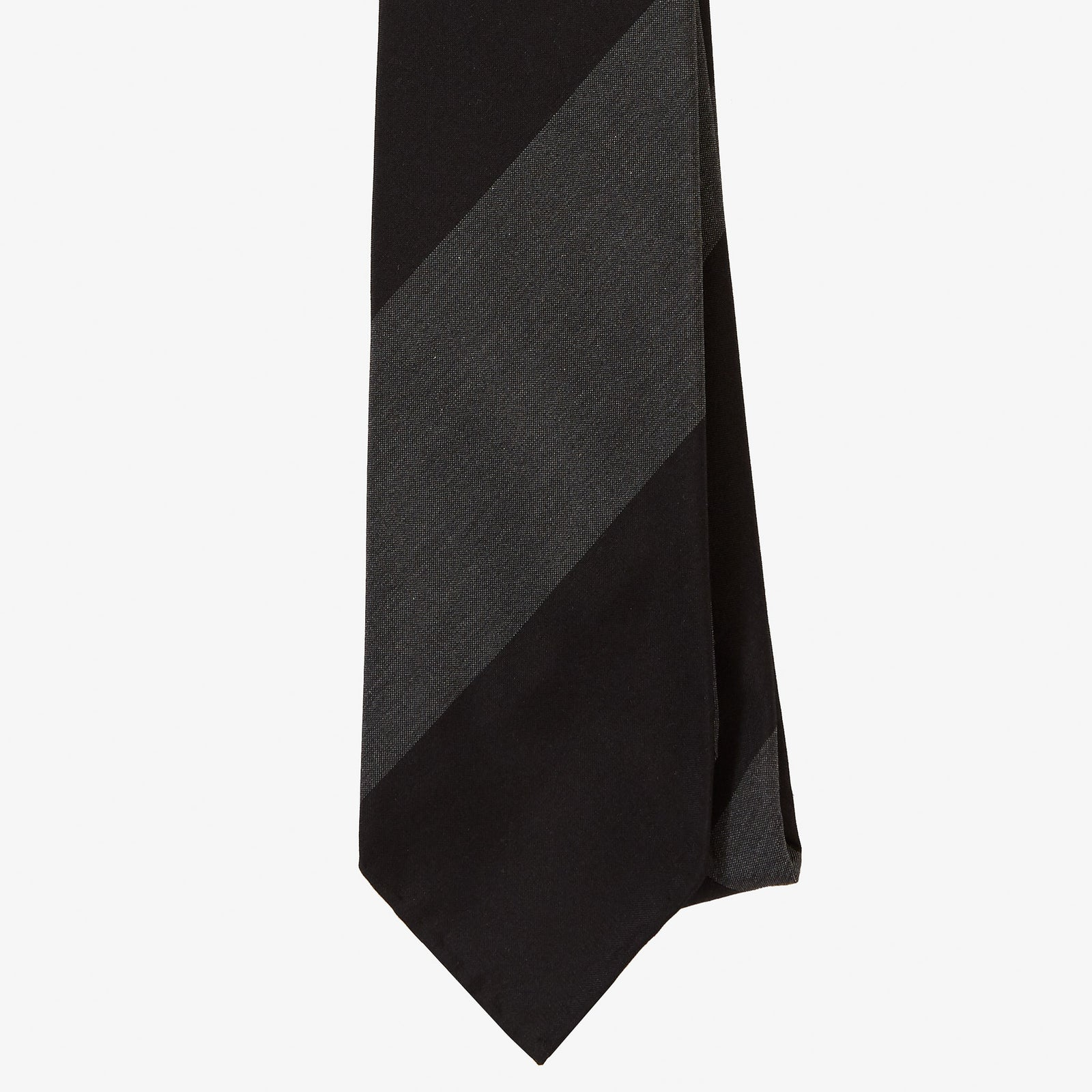 Dry Silk Tie Black Grey Block Stripe
