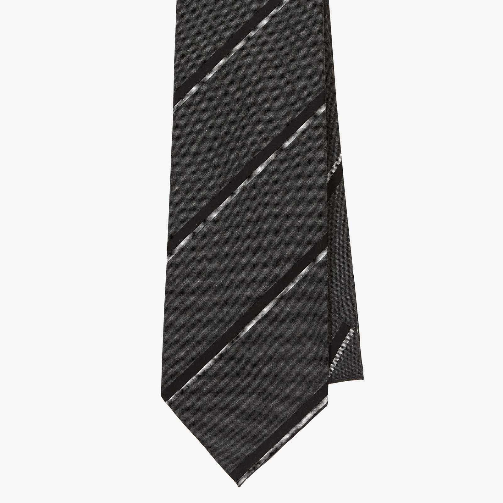 Dry Silk Tie Graphite Black Grey Double Stripe