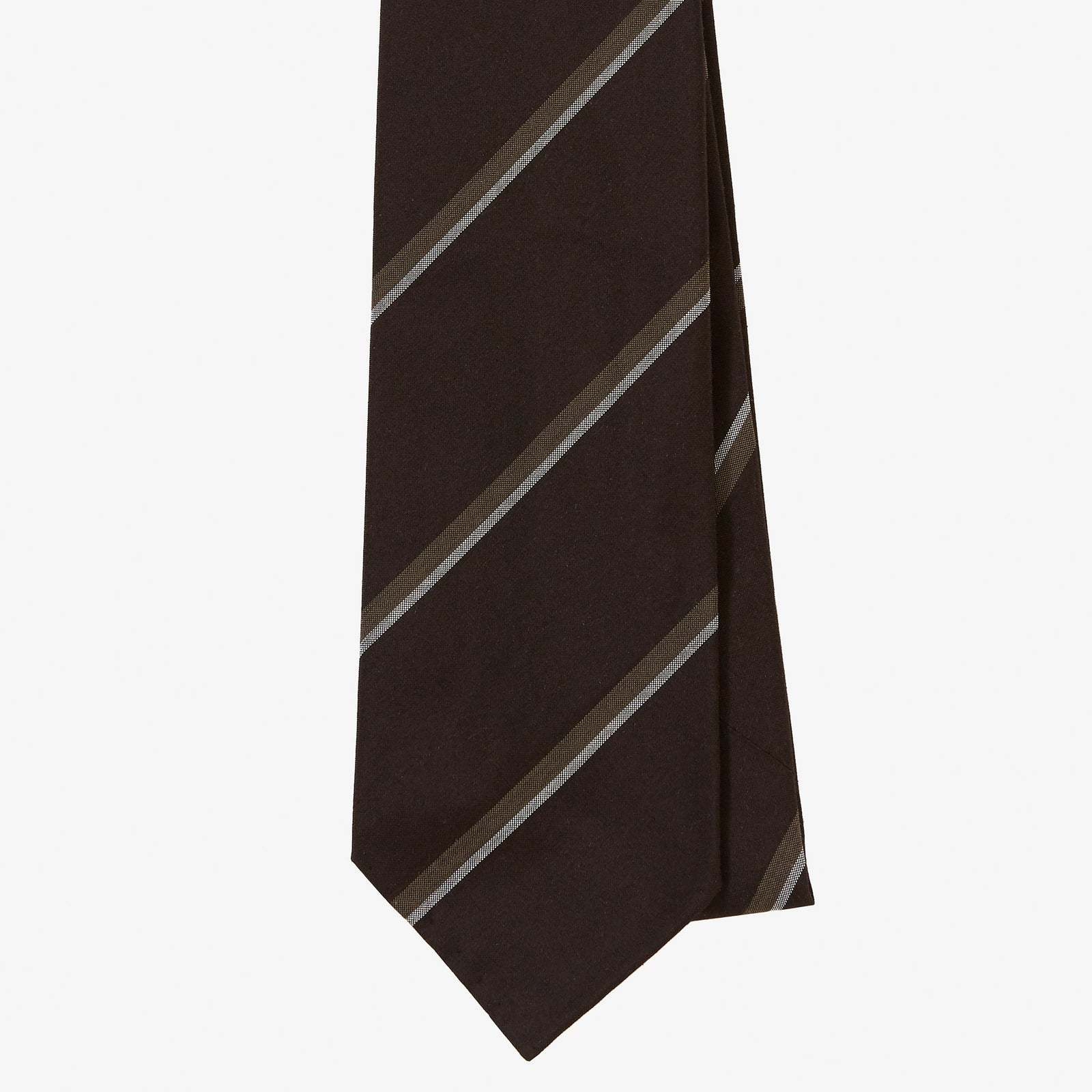 Dry Silk Tie Brown Taupe Grey Double Stripe