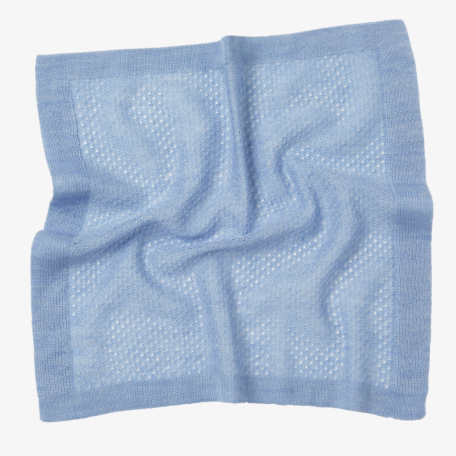 Pocket Square Cashmere Wool Knit Sky Blue