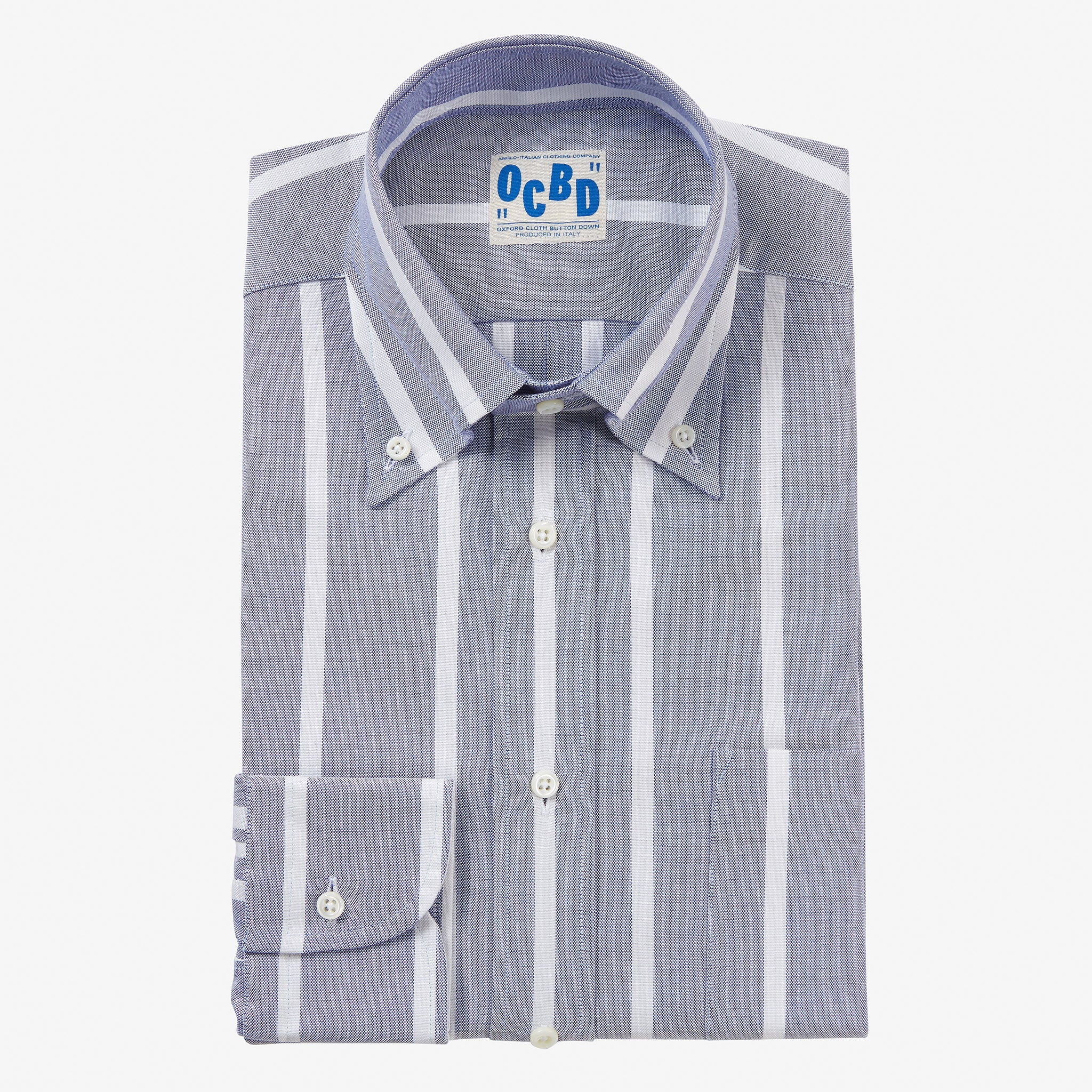 OCBD Shirt Thick Wide Reverse Stripe Blue Oxford