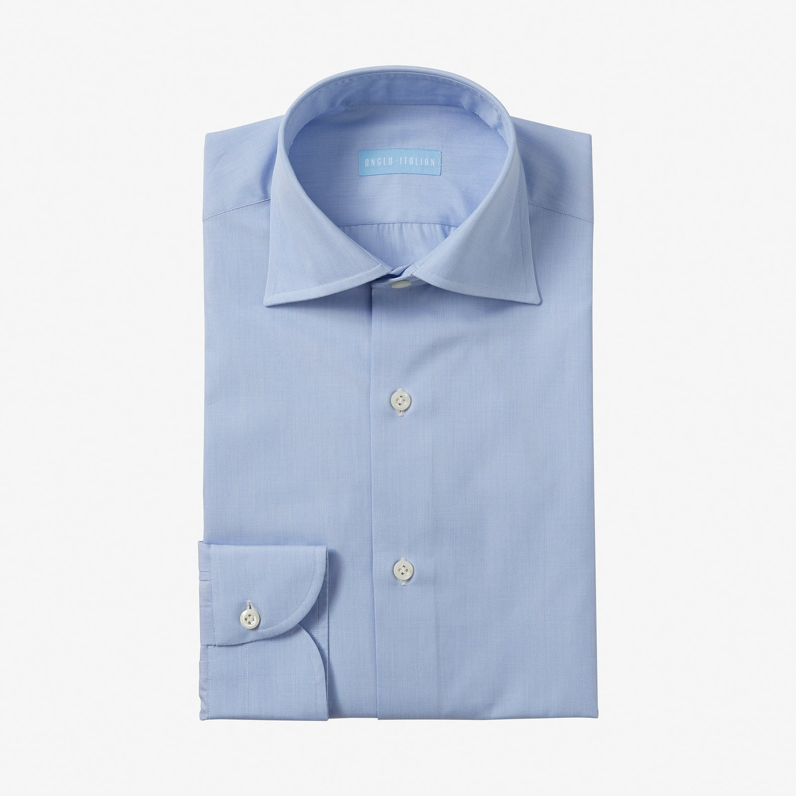 Spread Collar Shirt Cotton Blue End On End