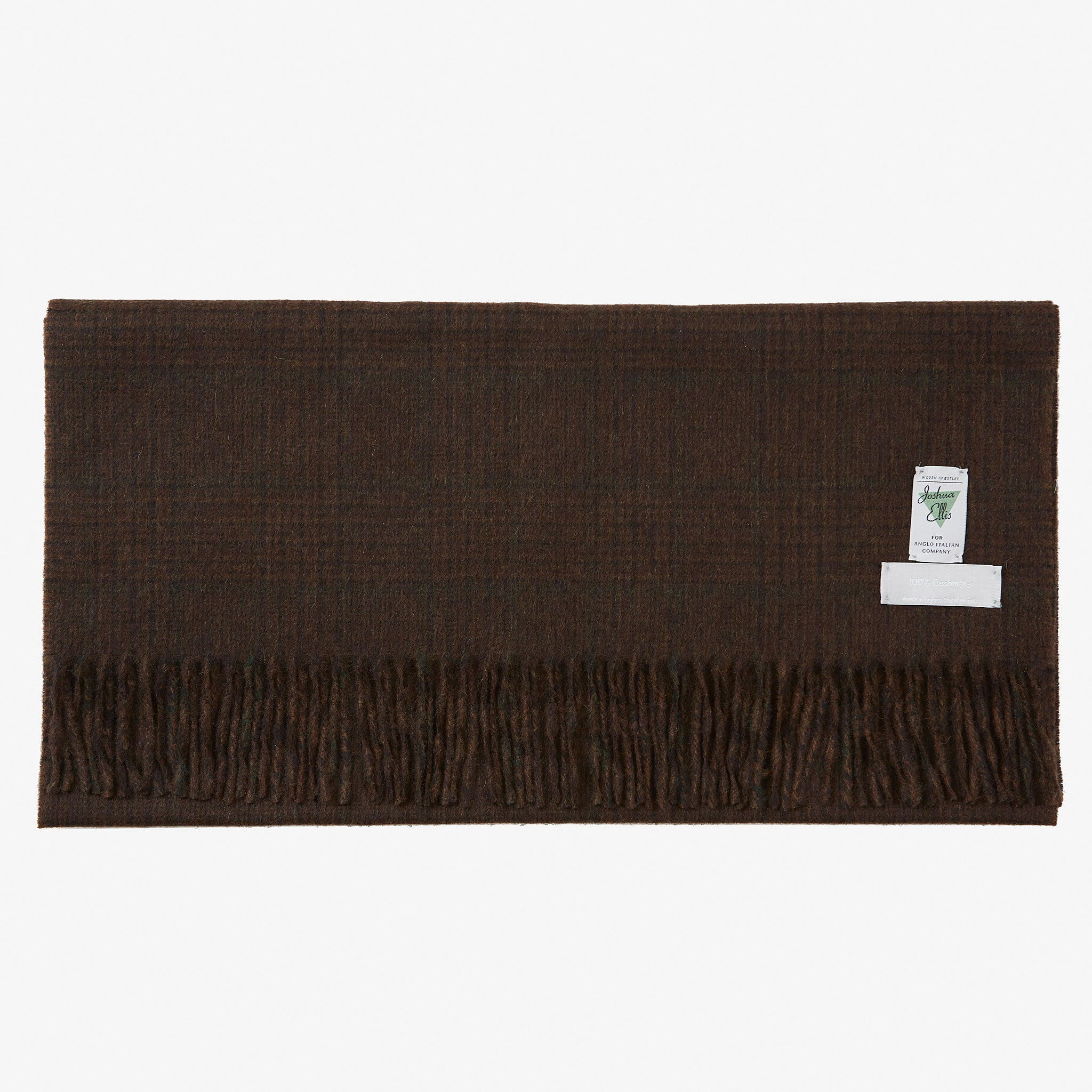 Cashmere Scarf Brown Glen Green Overcheck