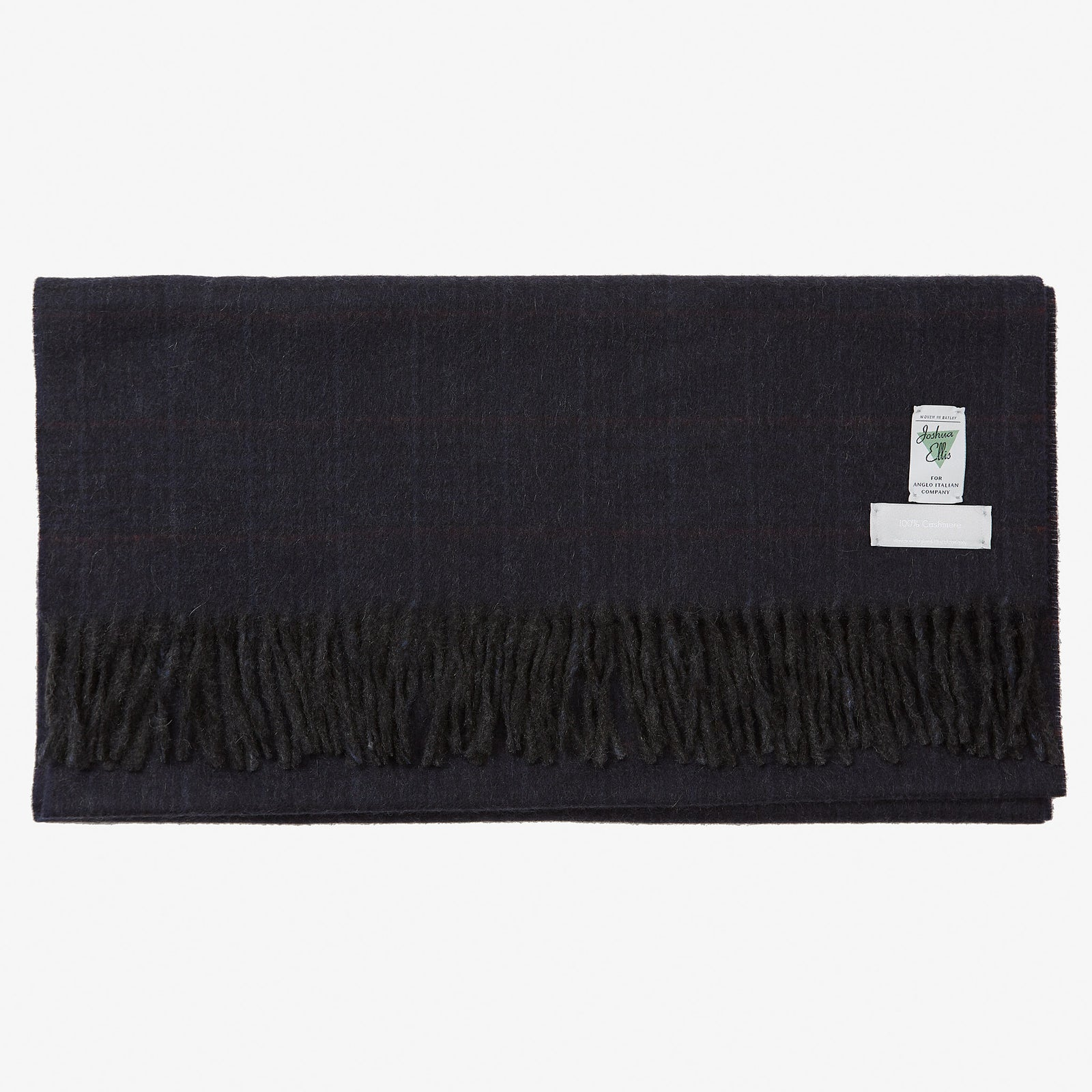 Cashmere Scarf Navy Glen Red Overcheck