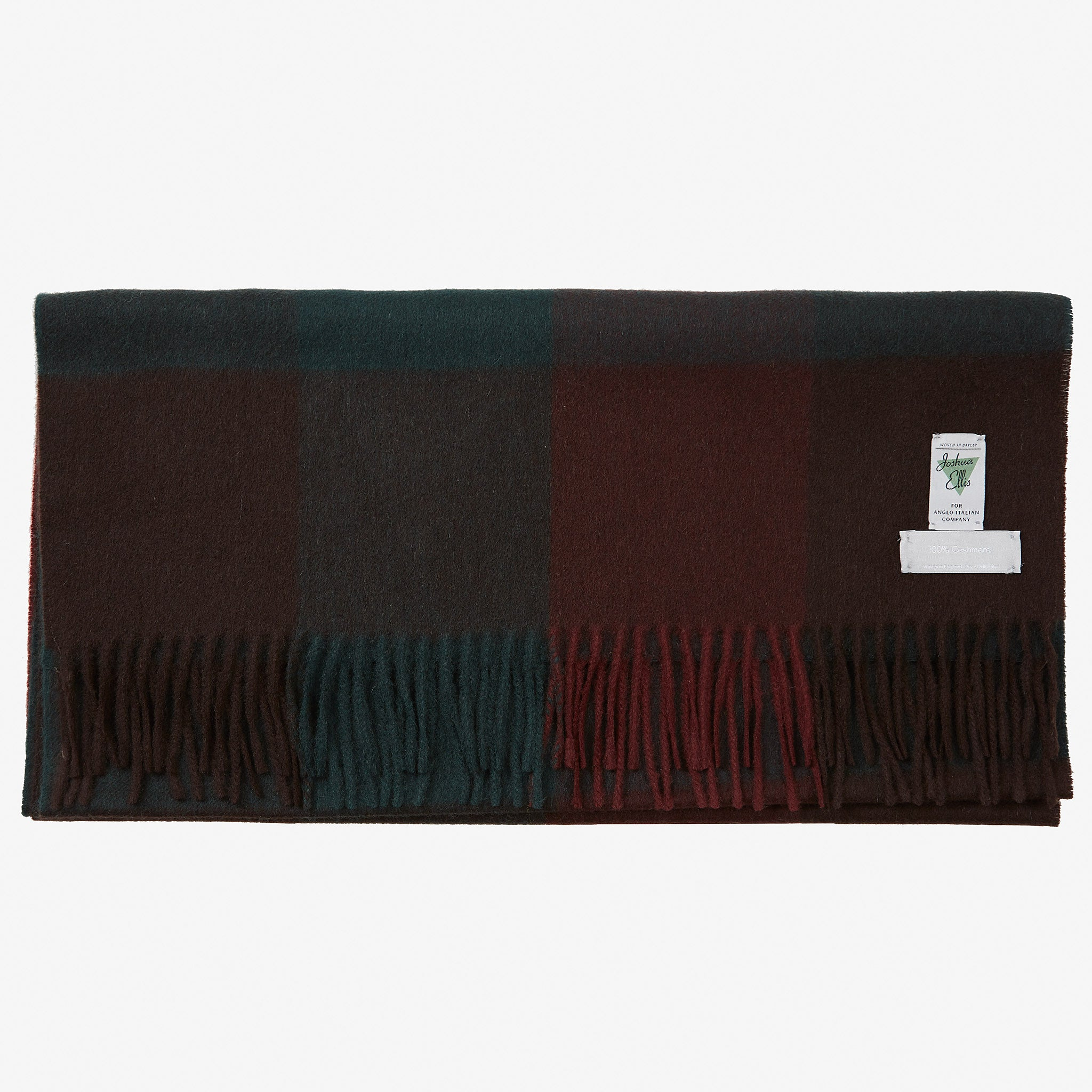 Cashmere Scarf Red Green Block