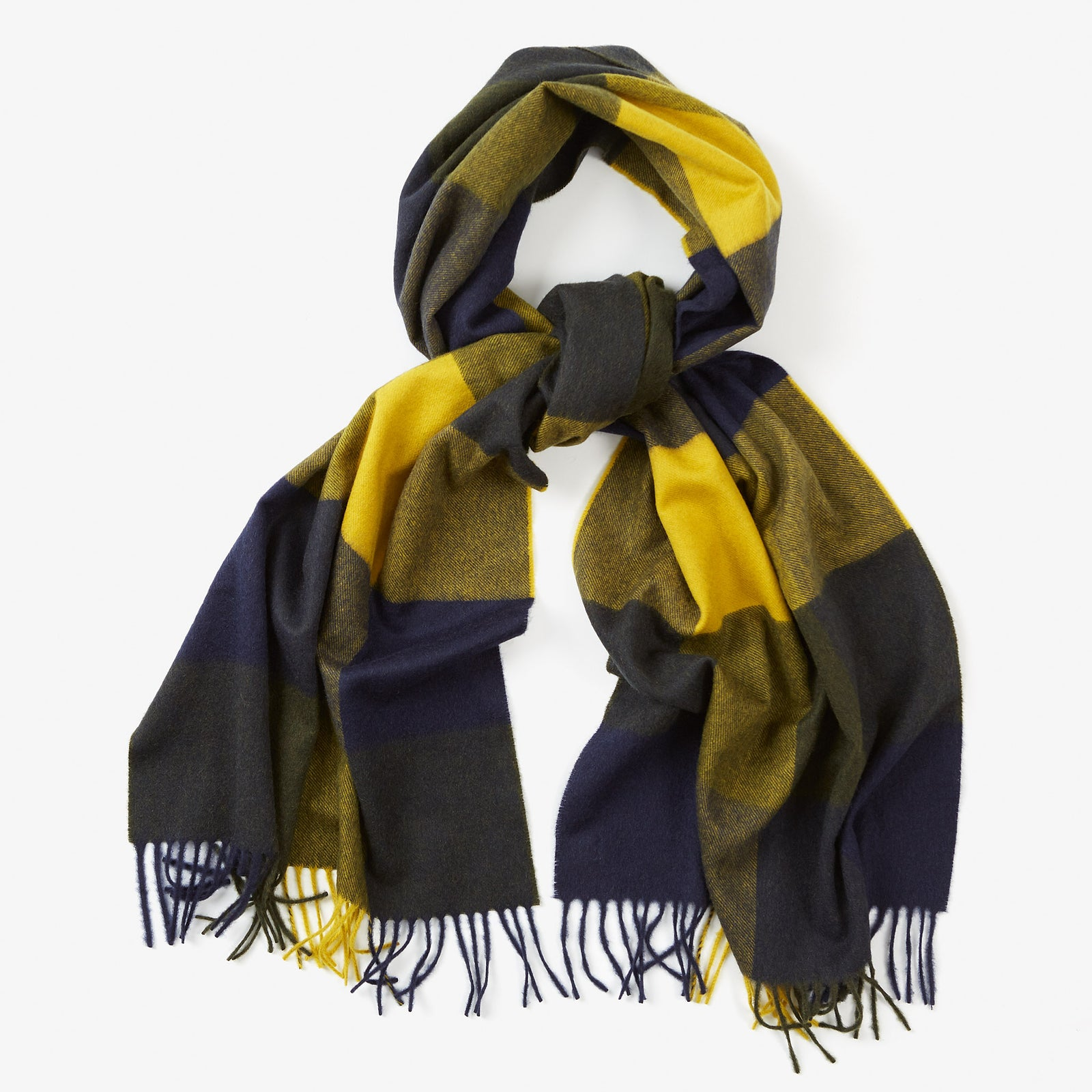 Cashmere Scarf Navy Yellow Block