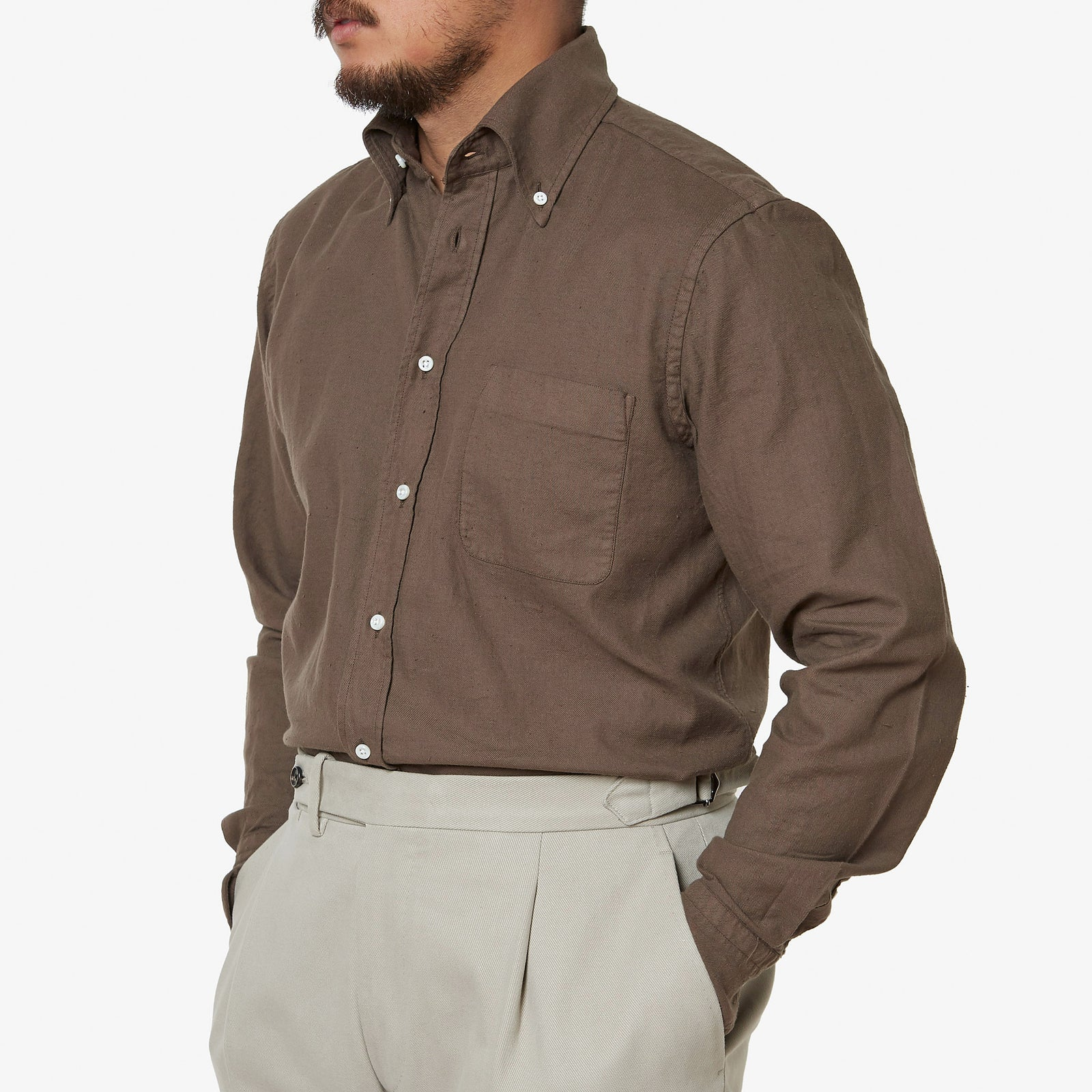 Button Down Sport Shirt Slub Cotton Garment Dye Brown