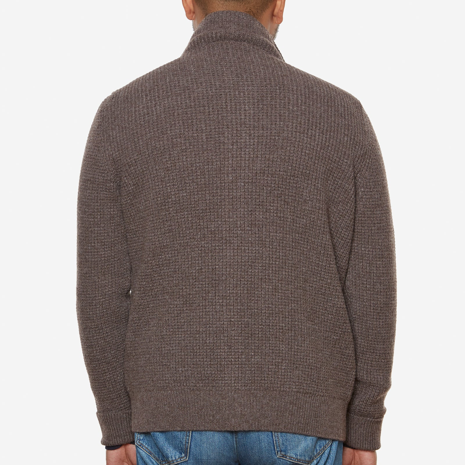 Button-through Cardigan Wool Cashmere Brown