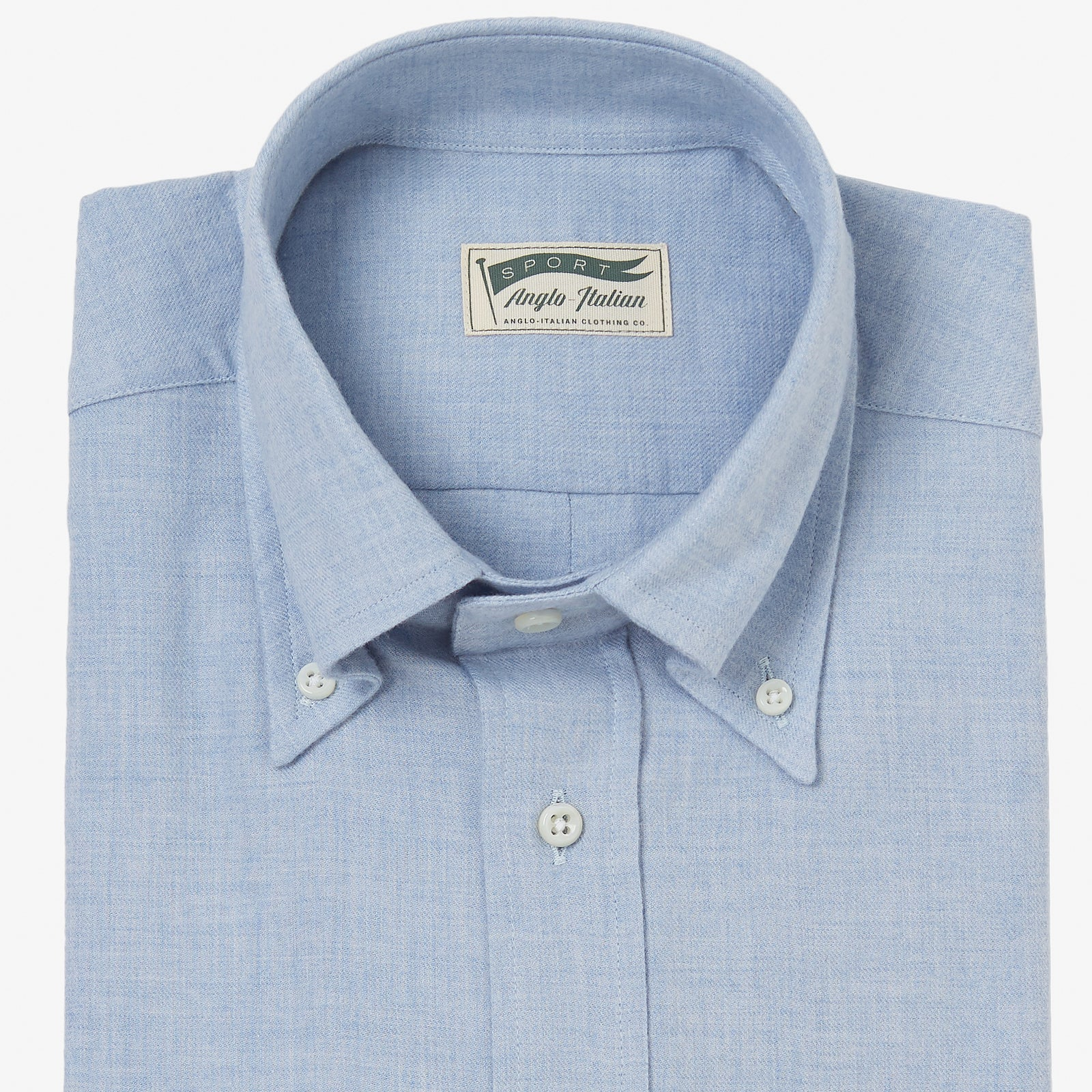 Button Down Sport Shirt Cotton Wool Blue