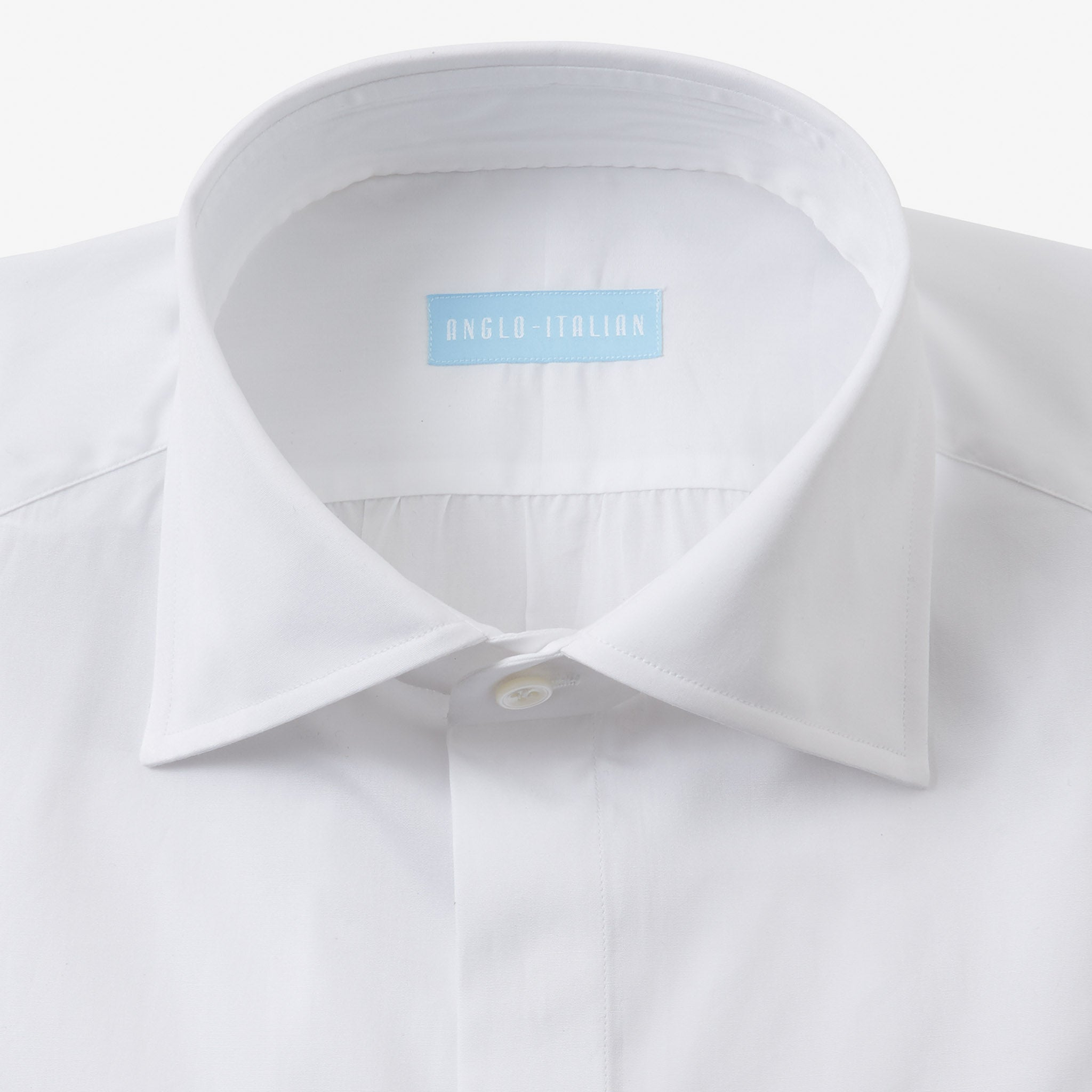 Spread Collar Shirt Cotton White Covered Placket