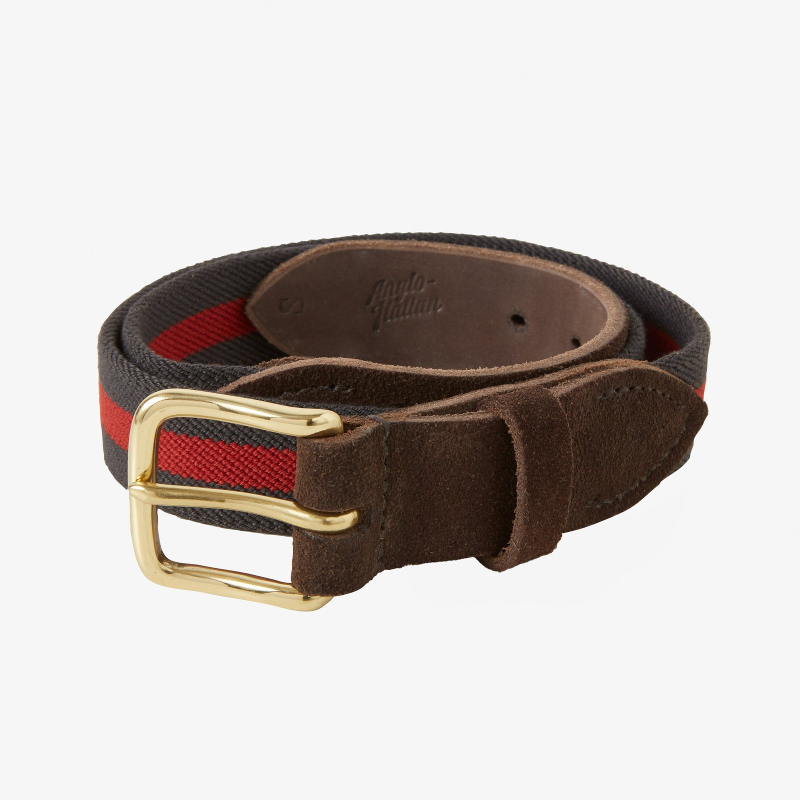Webbed Belt Canvas Suede Grey Red