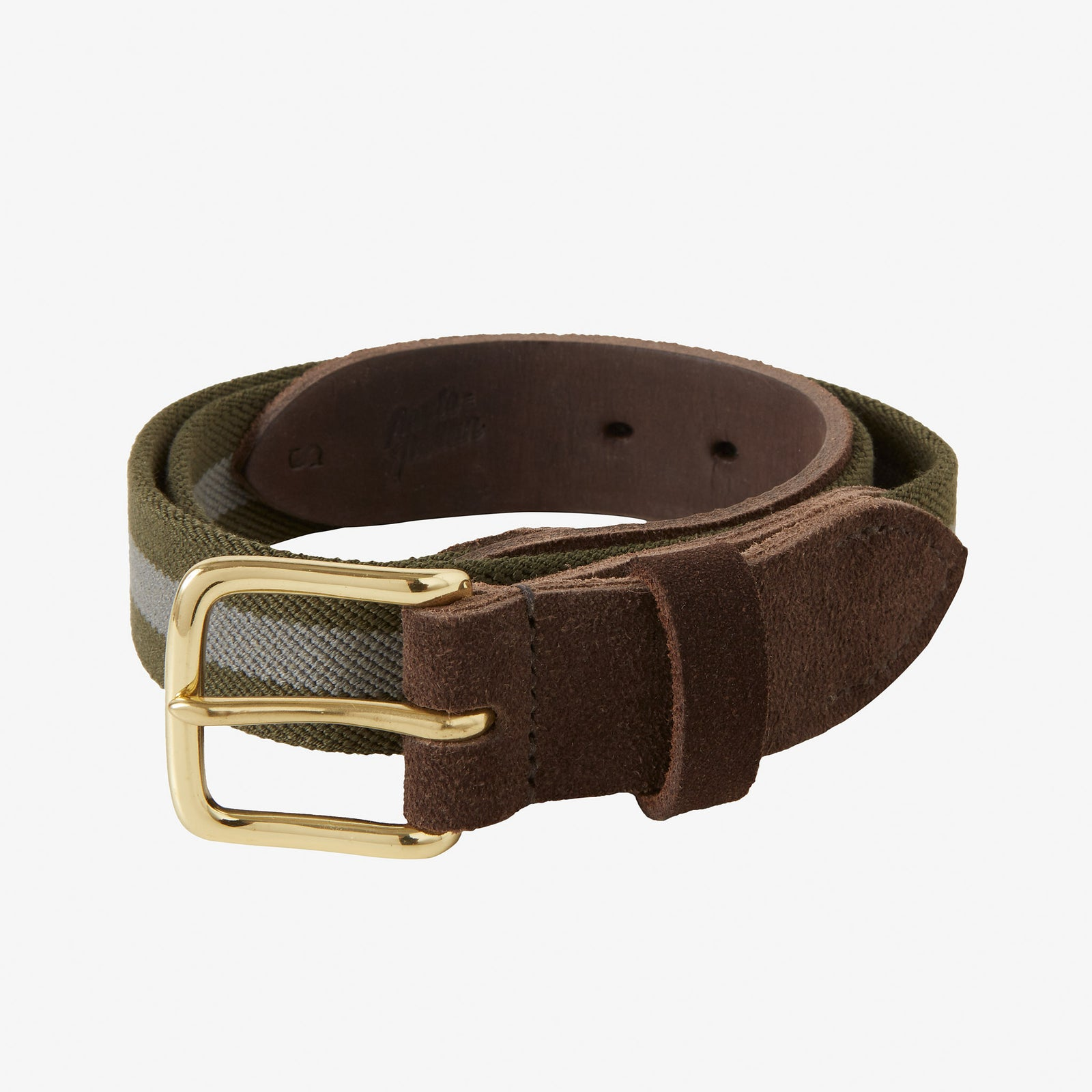 Webbed Belt Canvas Suede Green Grey