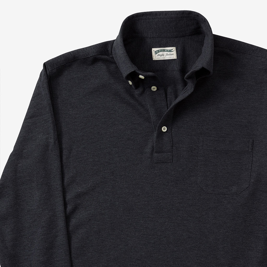 Polo Shirt Long Sleeve Charcoal