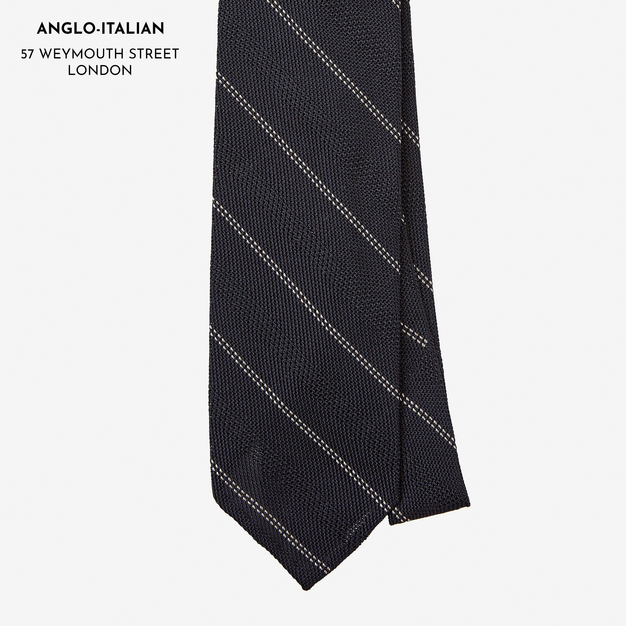 Tie Grenadine Double Stripe Navy