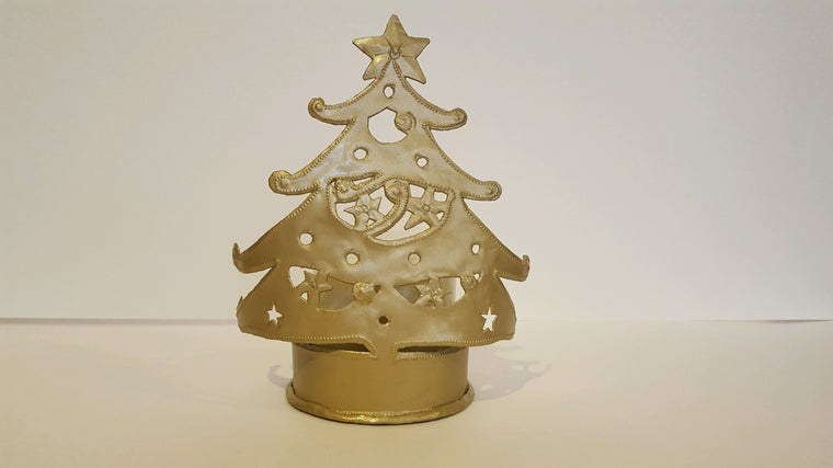 Christmas Tree Candle Holder with Small Beeswax Pillar Candle