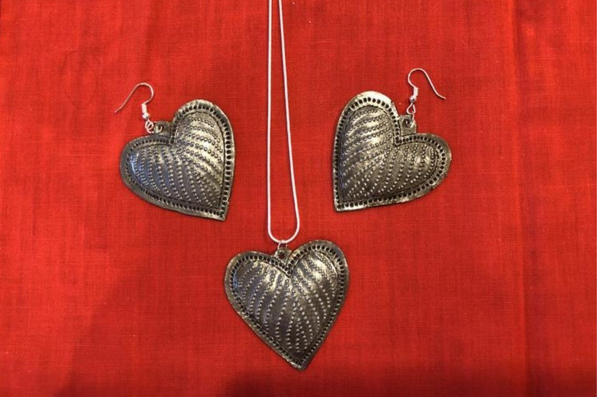 Heart Medallion Necklace and Earrings