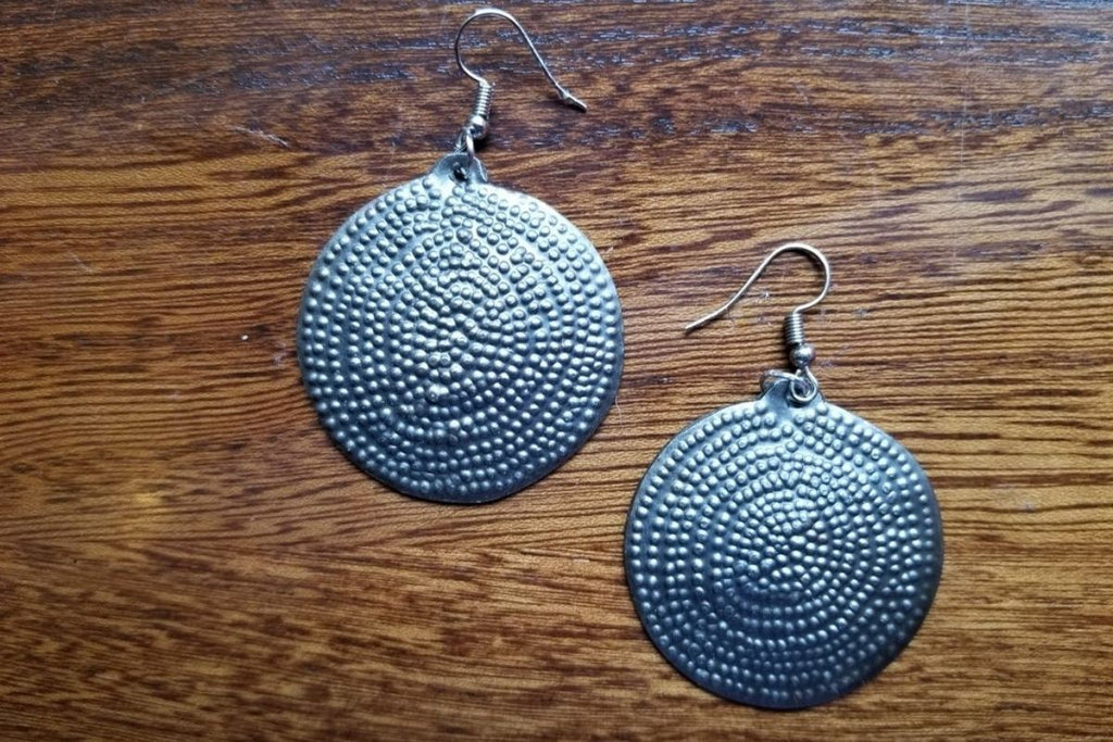 Dotted Round Medallion Earrings